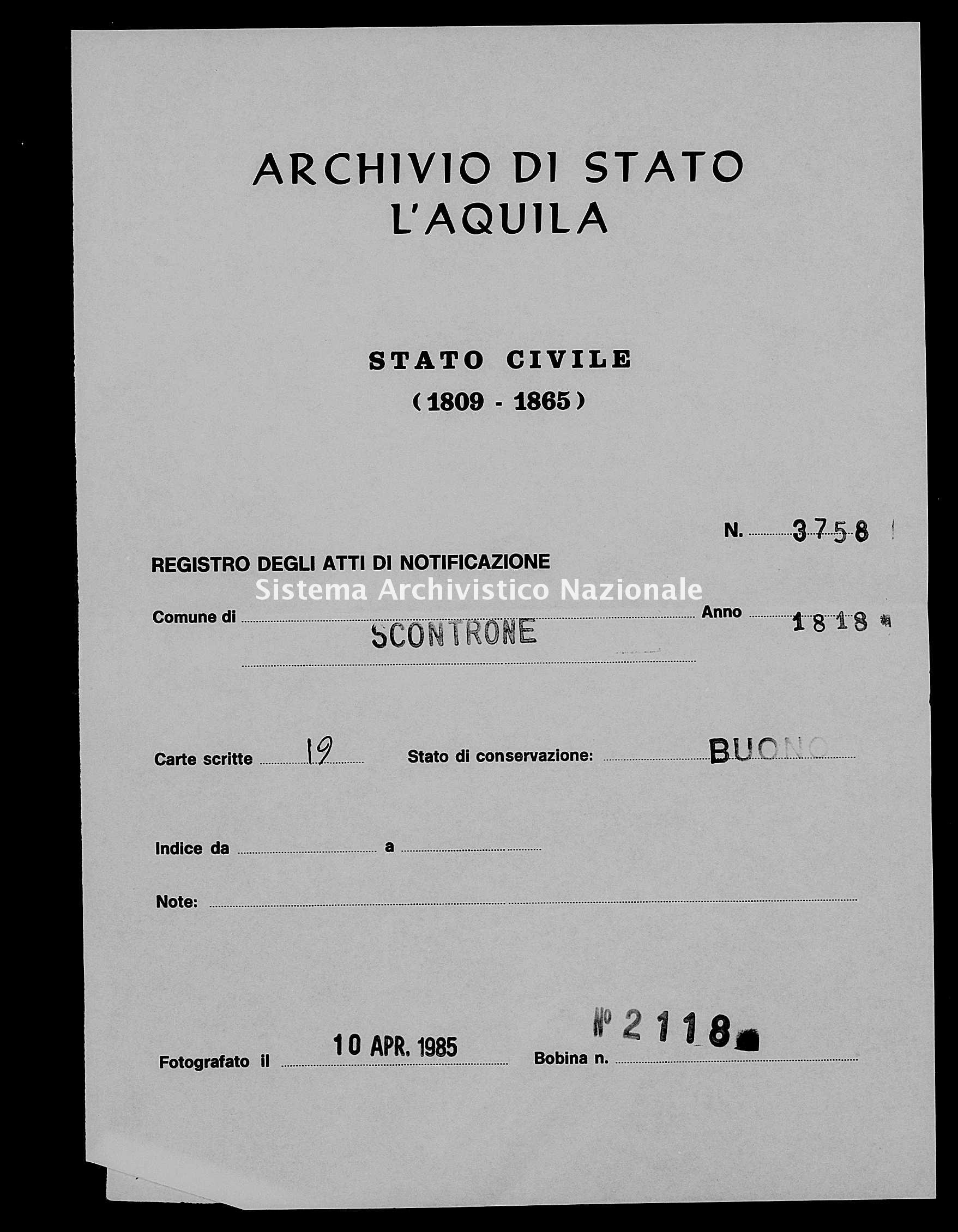 Archivio di stato di L'aquila - Stato civile della restaurazione - Scontrone - Matrimoni, pubblicazioni - 1818 - 3758 -