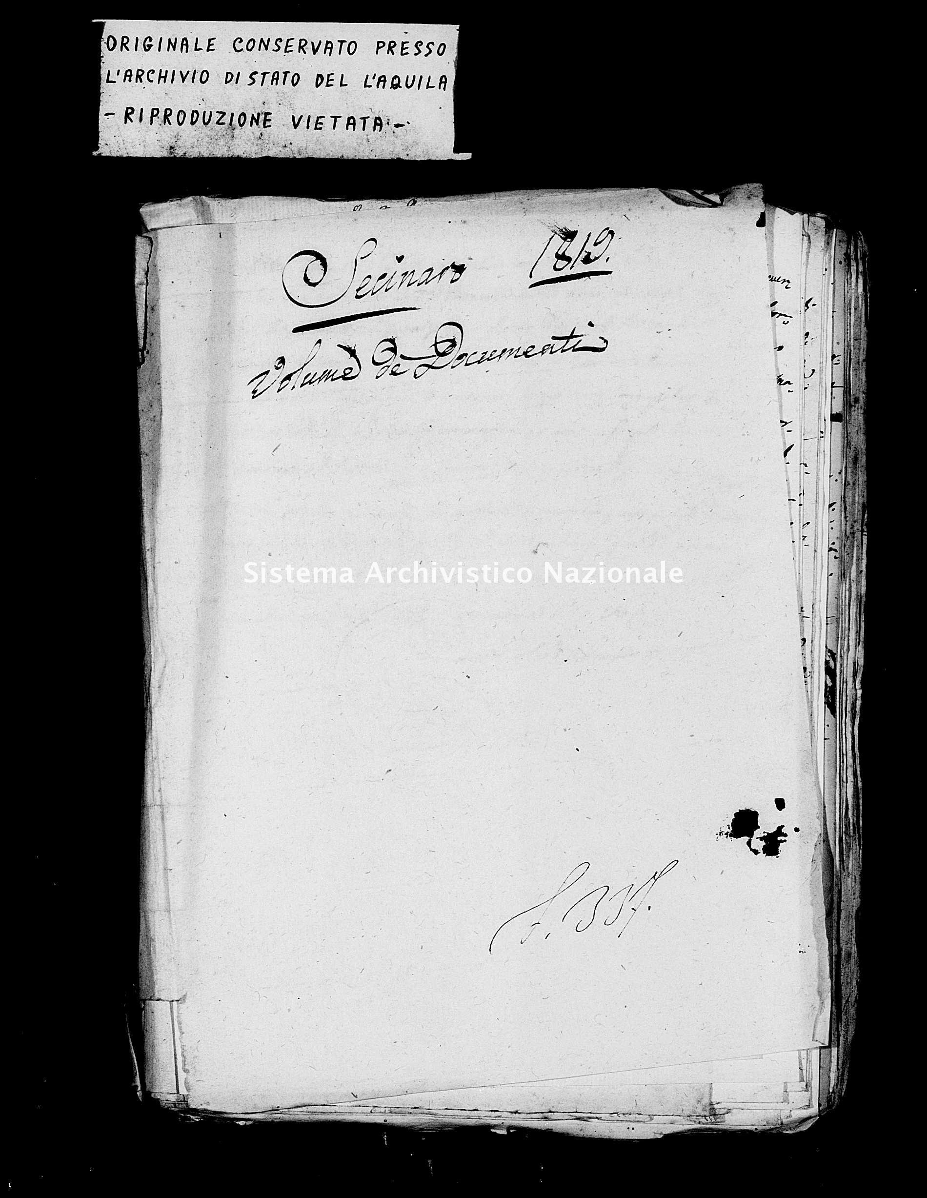 Archivio di stato di L'aquila - Stato civile della restaurazione - Secinaro - Matrimoni, processetti - 1819 -