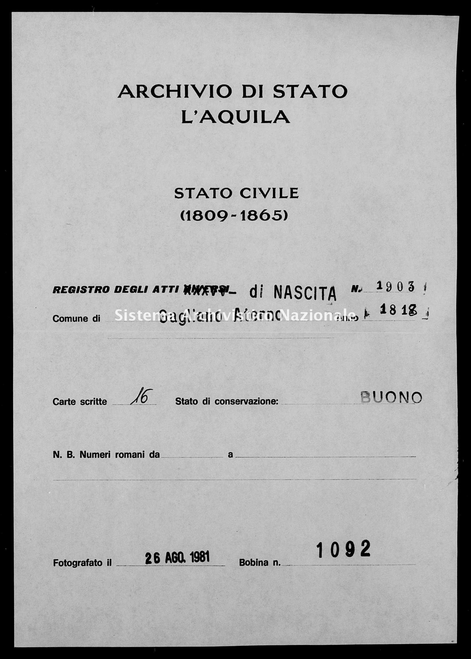Archivio di stato di L'aquila - Stato civile della restaurazione - Gagliano Aterno - Nati - 1818 - 1903 -