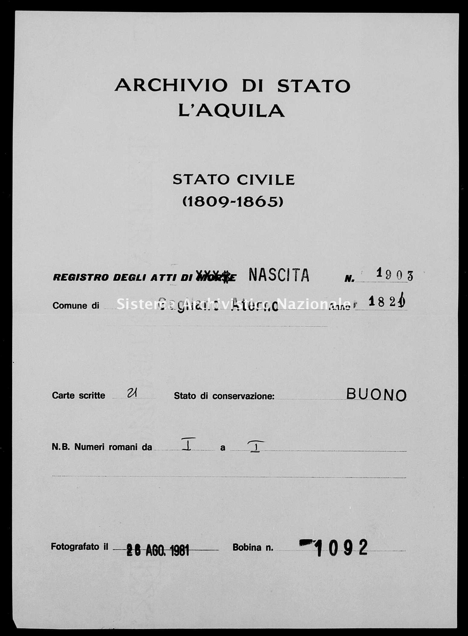 Archivio di stato di L'aquila - Stato civile della restaurazione - Gagliano Aterno - Nati - 1821 - 1903 -