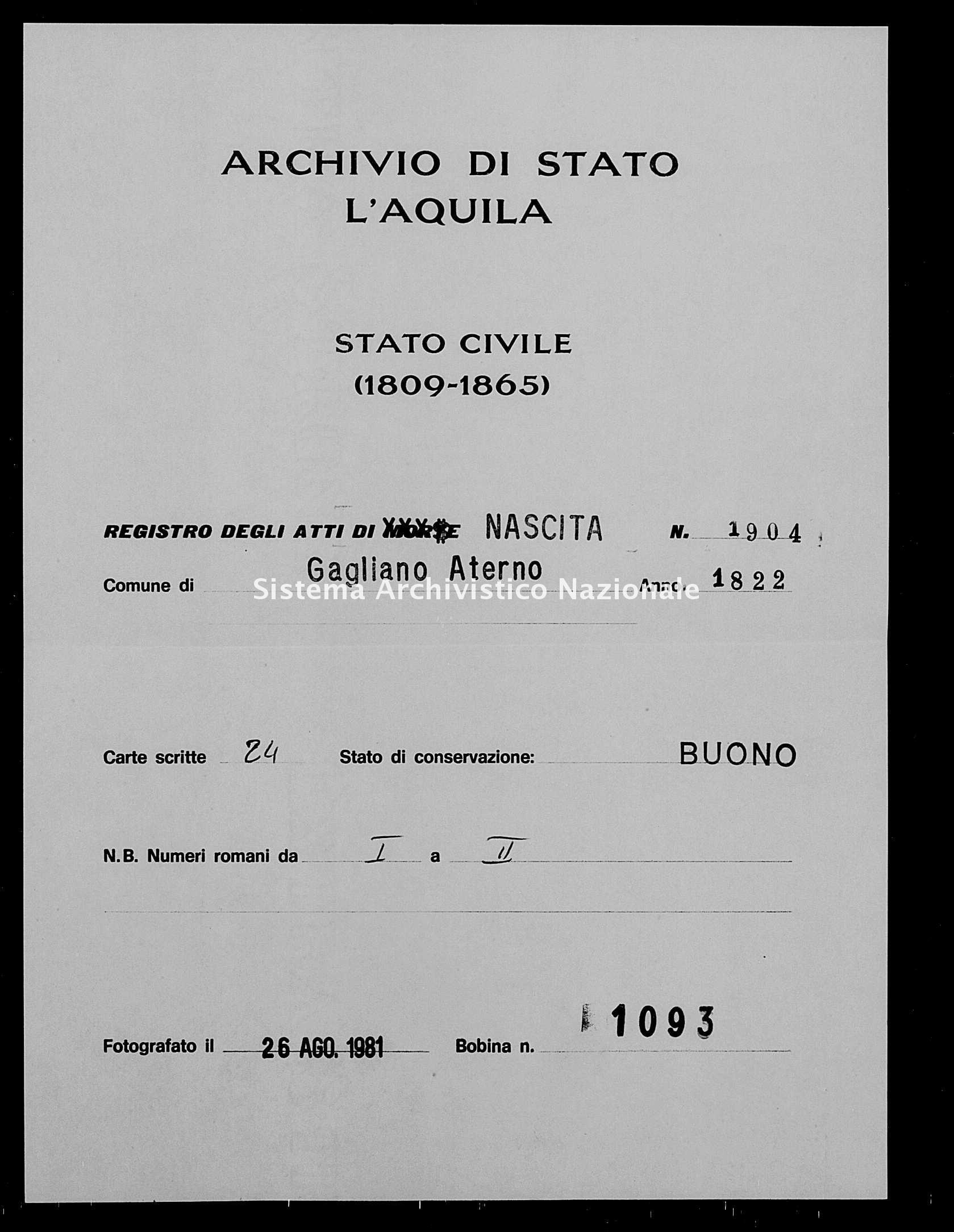 Archivio di stato di L'aquila - Stato civile della restaurazione - Gagliano Aterno - Nati - 1822 - 1904 -