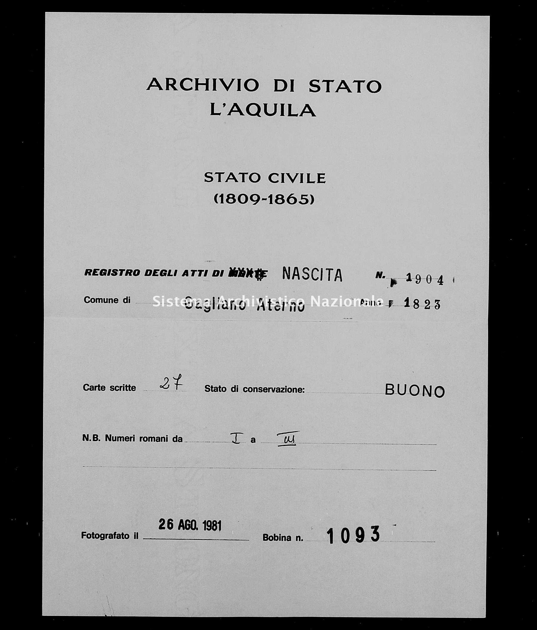 Archivio di stato di L'aquila - Stato civile della restaurazione - Gagliano Aterno - Nati - 1823 - 1904 -