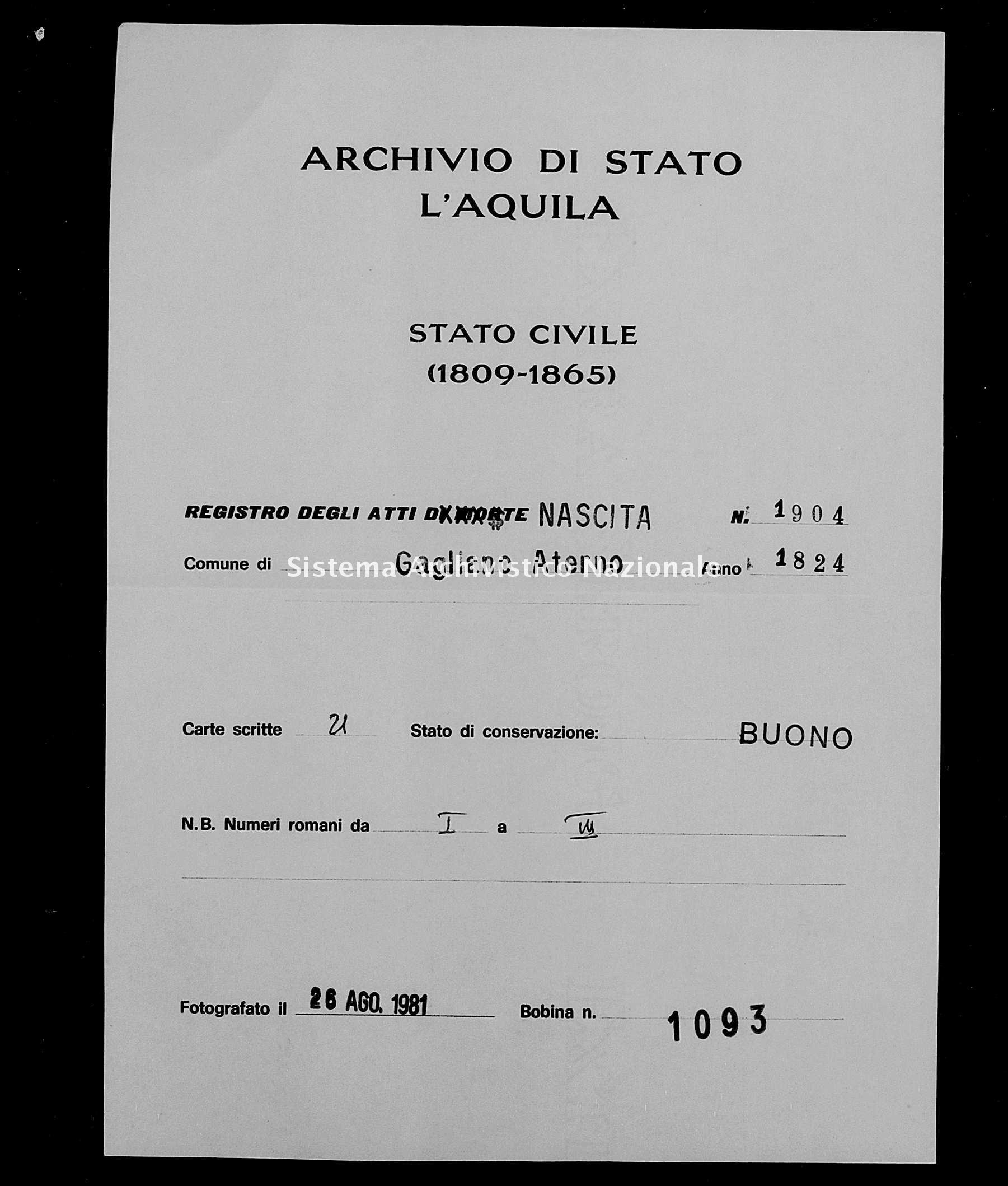 Archivio di stato di L'aquila - Stato civile della restaurazione - Gagliano Aterno - Nati - 1824 - 1904 -