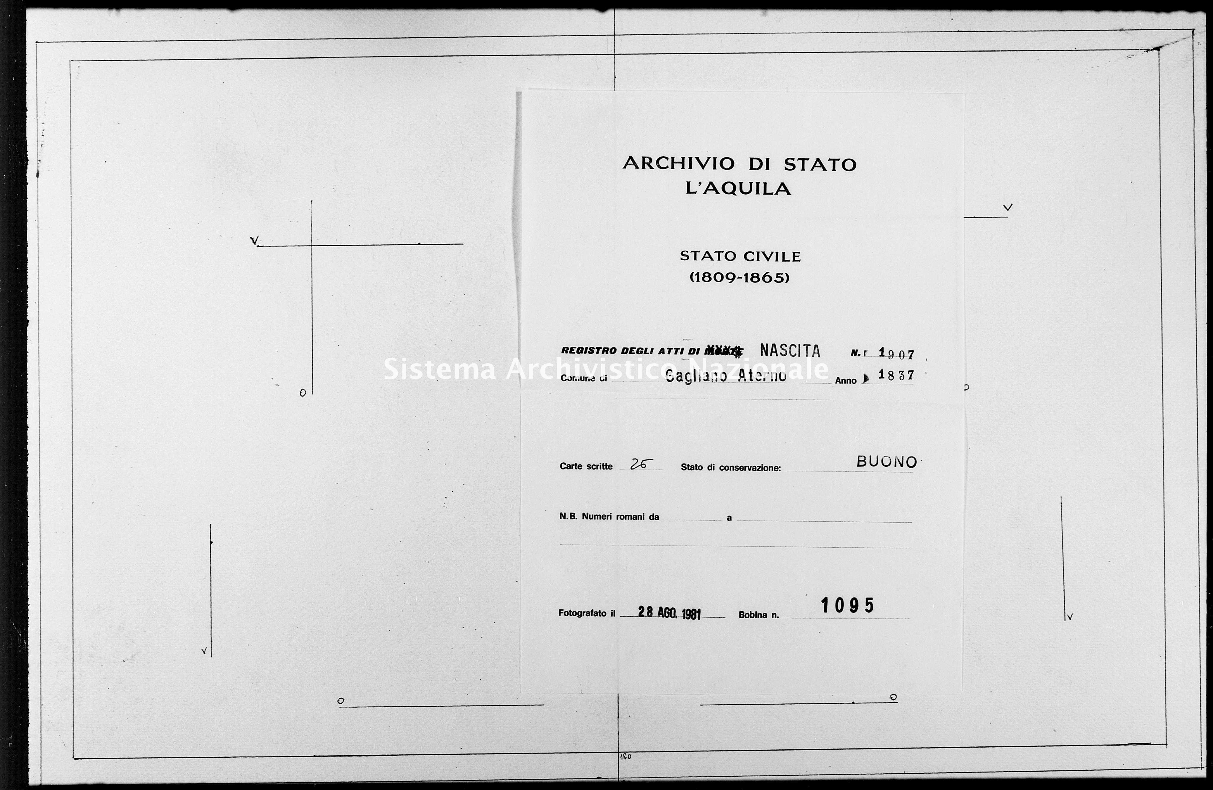Archivio di stato di L'aquila - Stato civile della restaurazione - Gagliano Aterno - Nati - 1837 - 1907 -