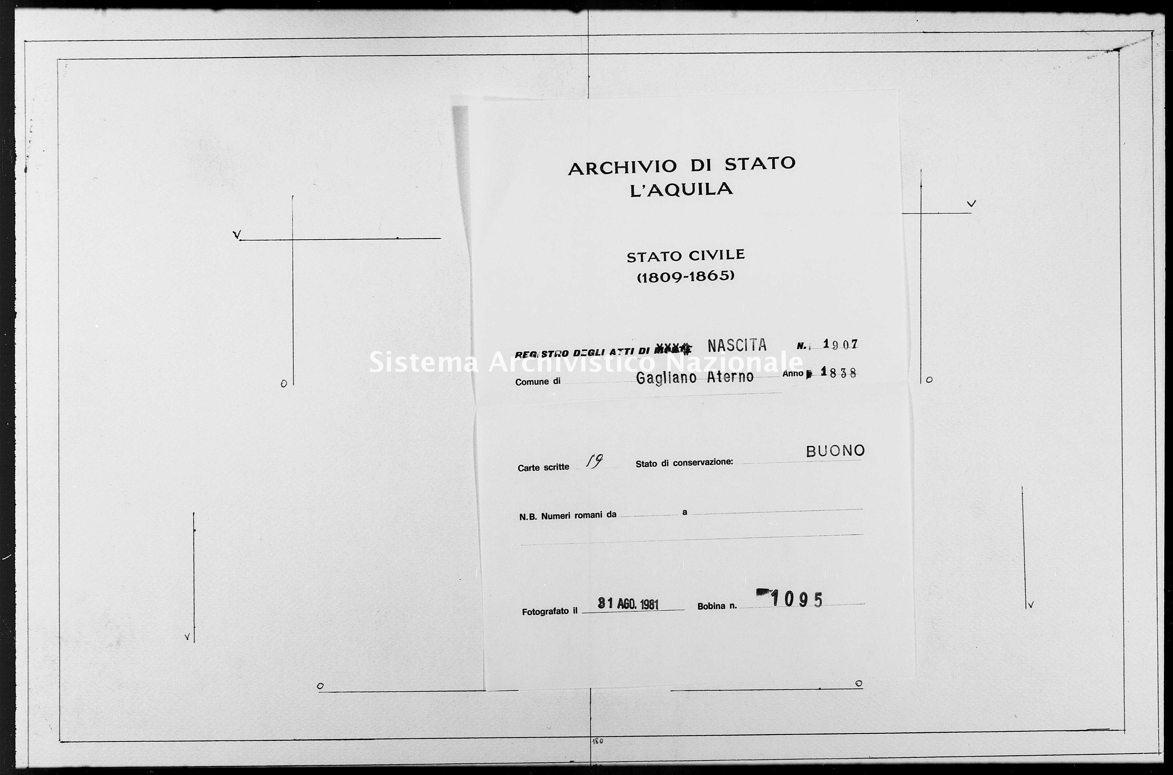 Archivio di stato di L'aquila - Stato civile della restaurazione - Gagliano Aterno - Nati - 1838 - 1907 -