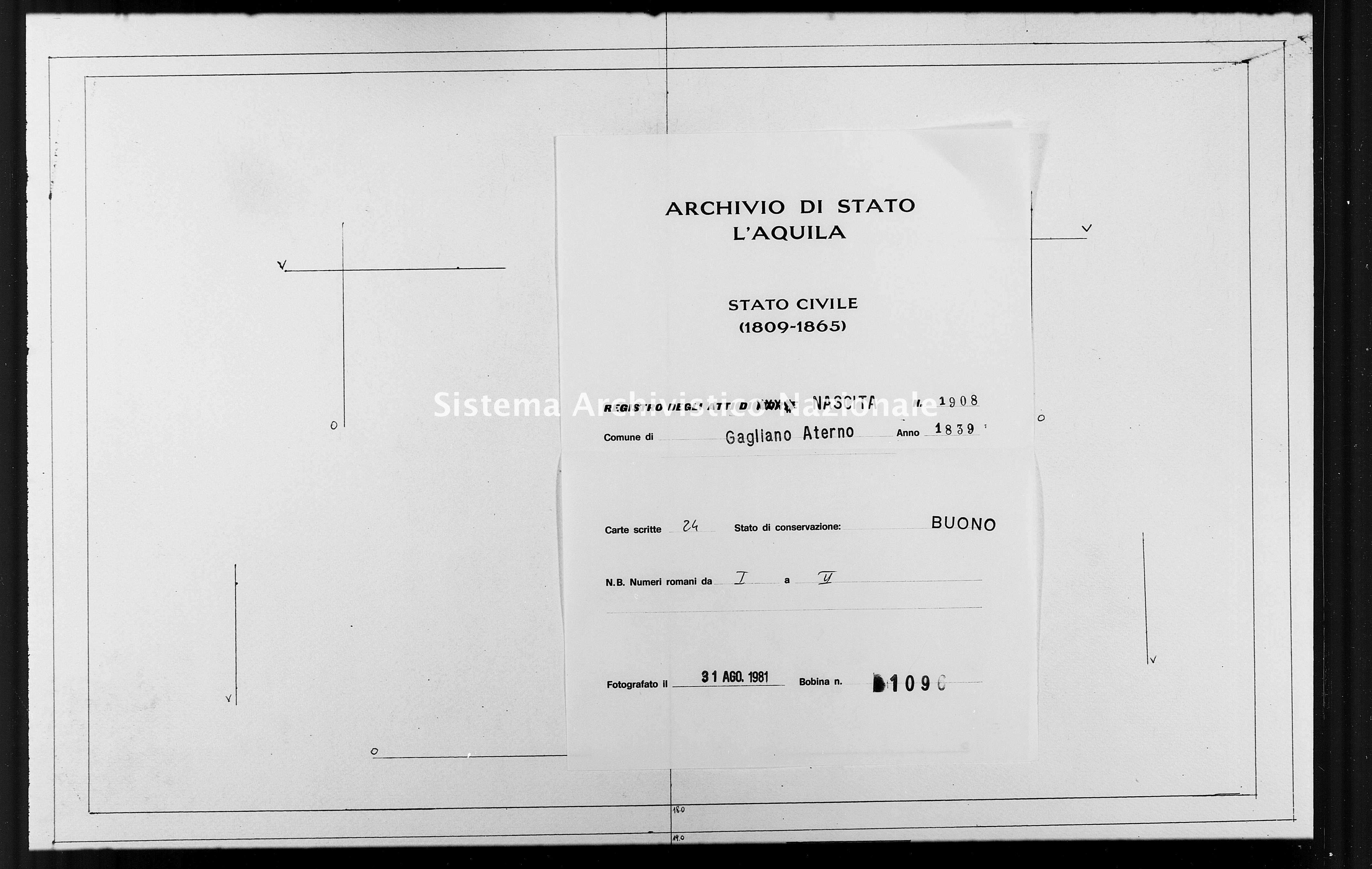 Archivio di stato di L'aquila - Stato civile della restaurazione - Gagliano Aterno - Nati - 1839 - 1908 -