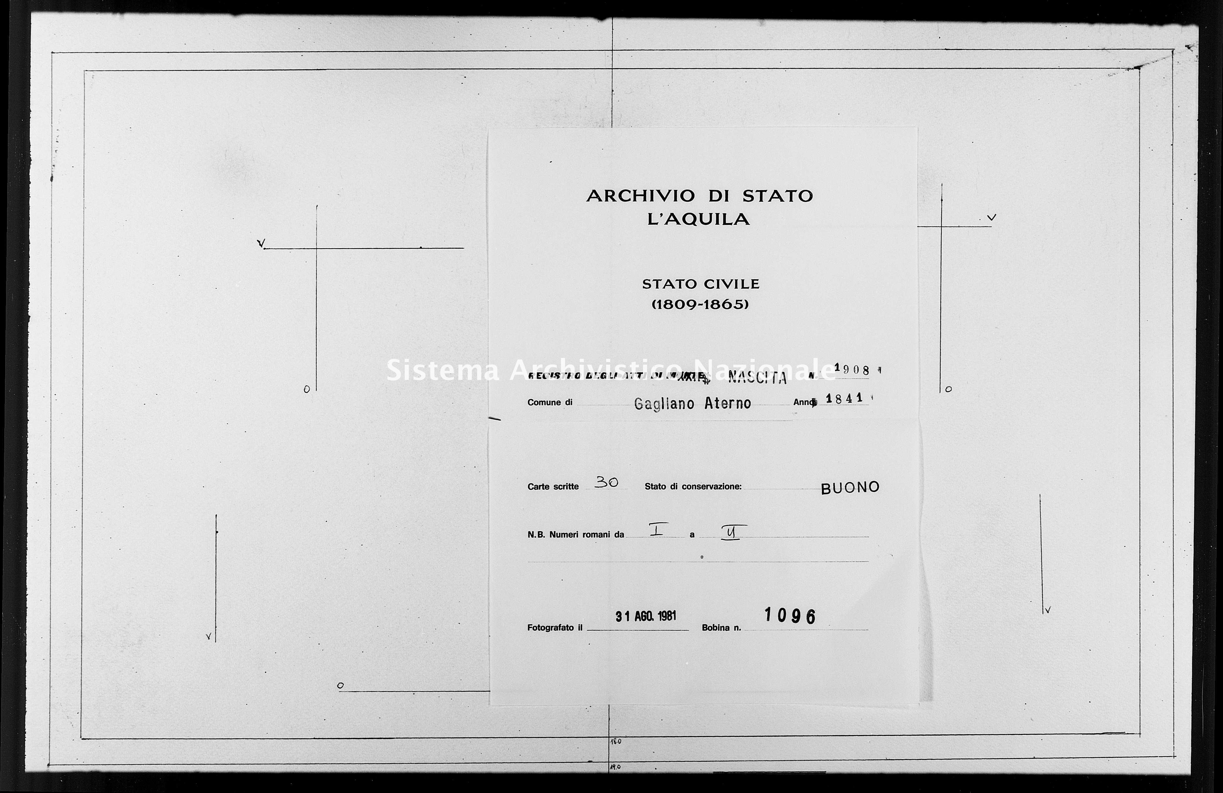 Archivio di stato di L'aquila - Stato civile della restaurazione - Gagliano Aterno - Nati - 1841 - 1908 -