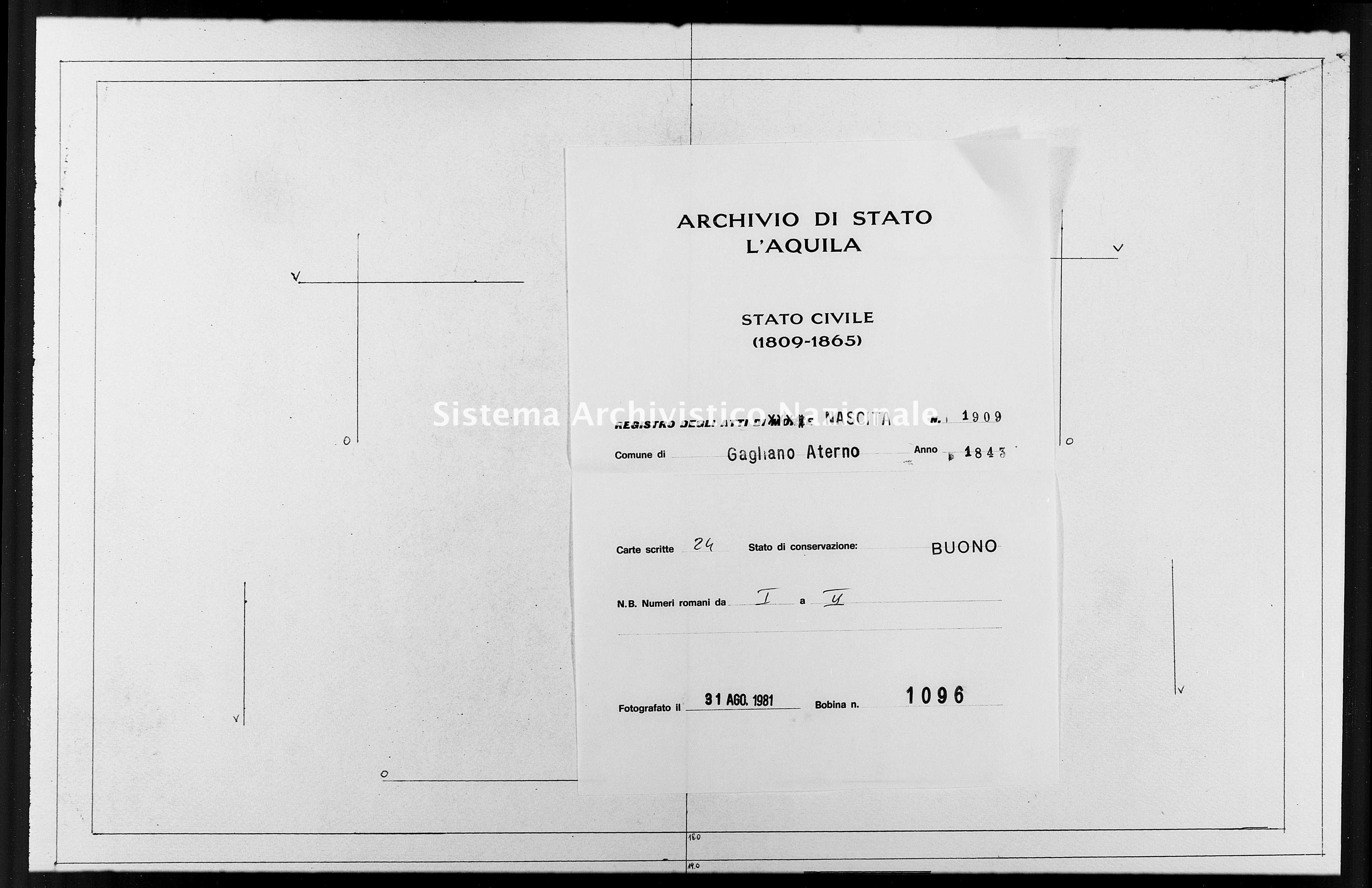 Archivio di stato di L'aquila - Stato civile della restaurazione - Gagliano Aterno - Nati - 1843 - 1909 -