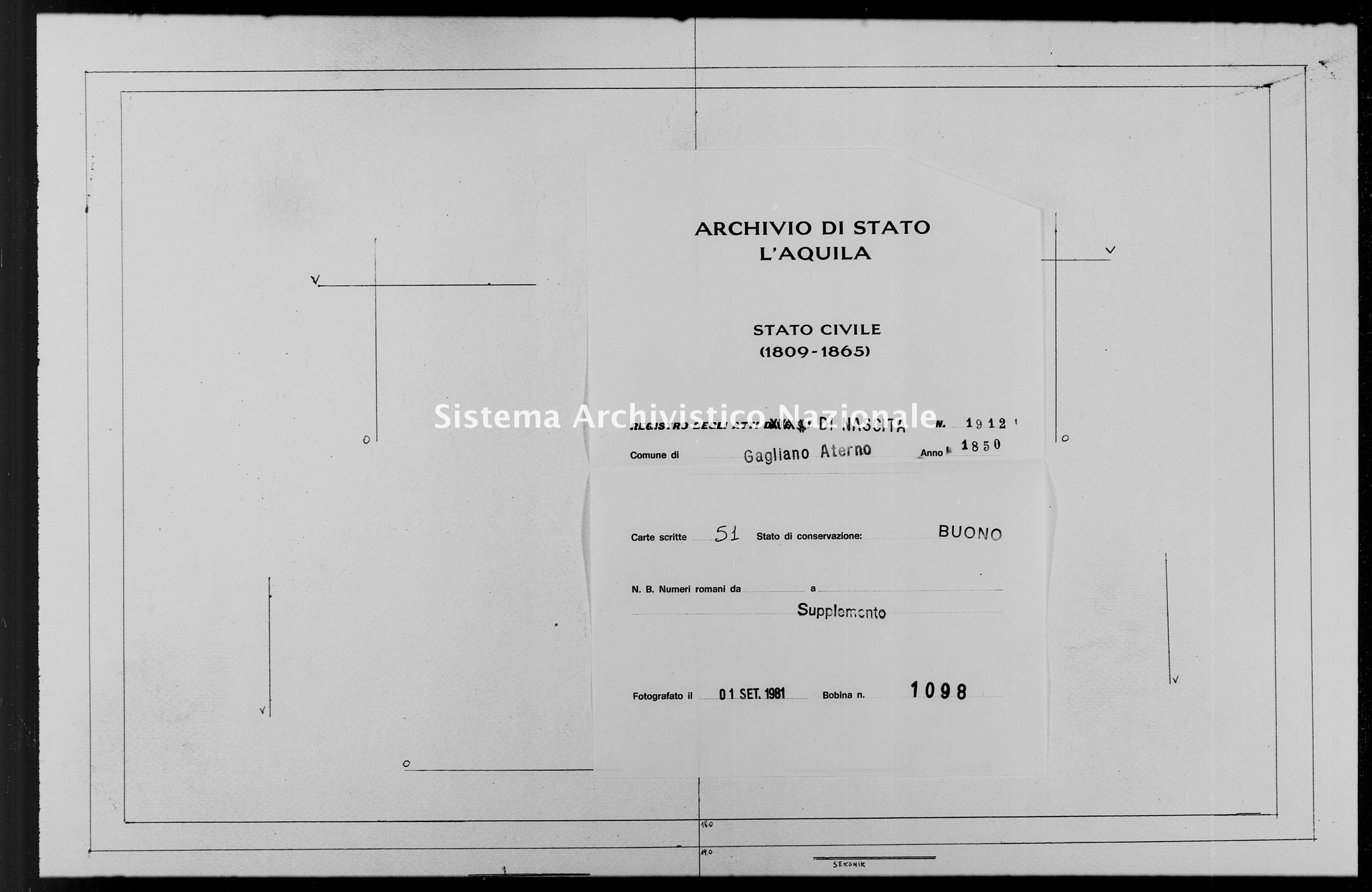 Archivio di stato di L'aquila - Stato civile della restaurazione - Gagliano Aterno - Nati, battesimi - 1850 - 1912 -