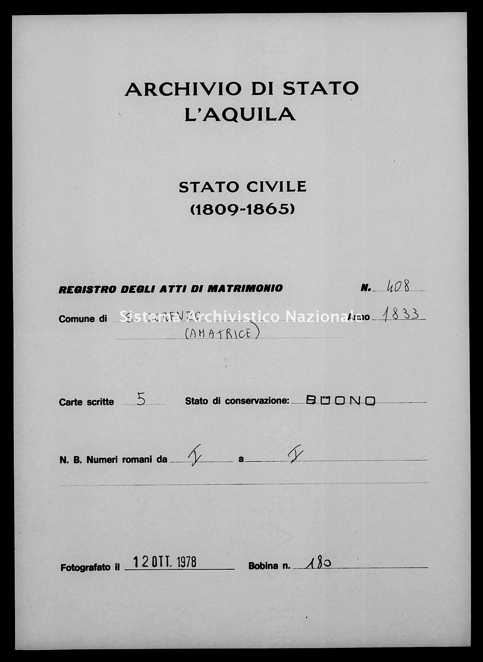 Archivio di stato di L'aquila - Stato civile della restaurazione - San Lorenzo - Matrimoni - 1833 - 408 -