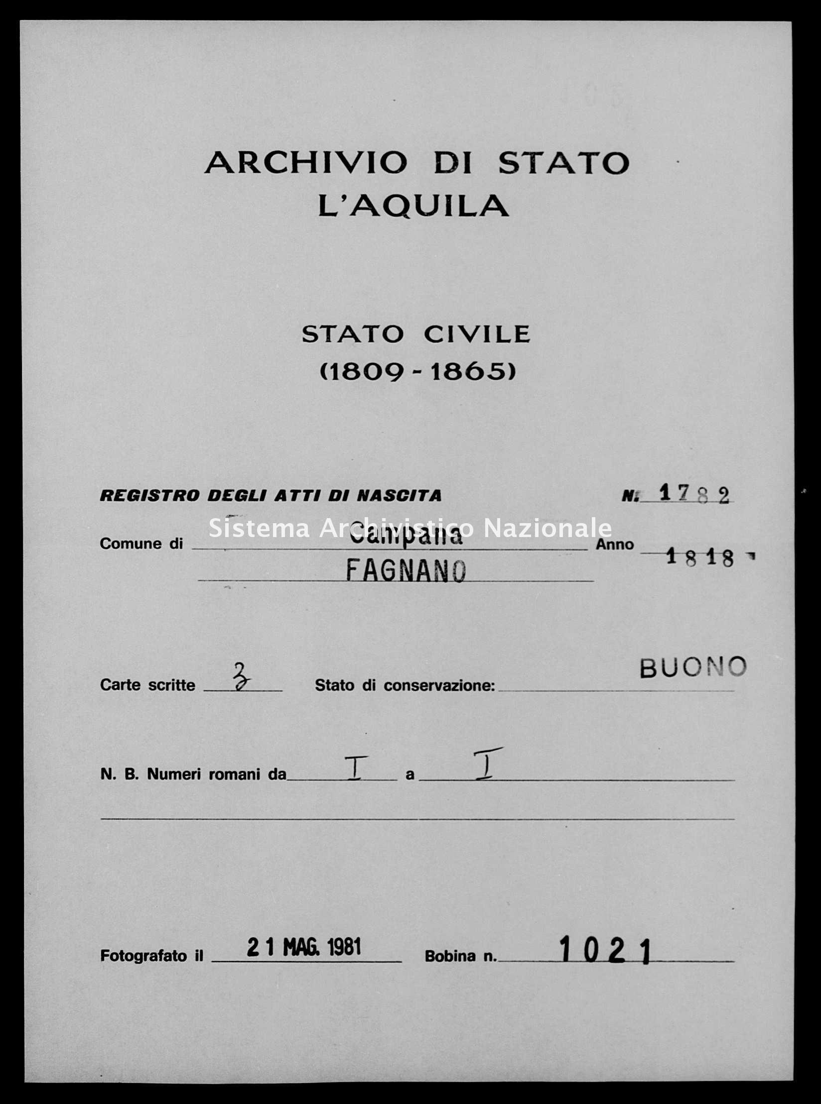 Archivio di stato di L'aquila - Stato civile della restaurazione - Campana - Nati - 1818 - 1782 -
