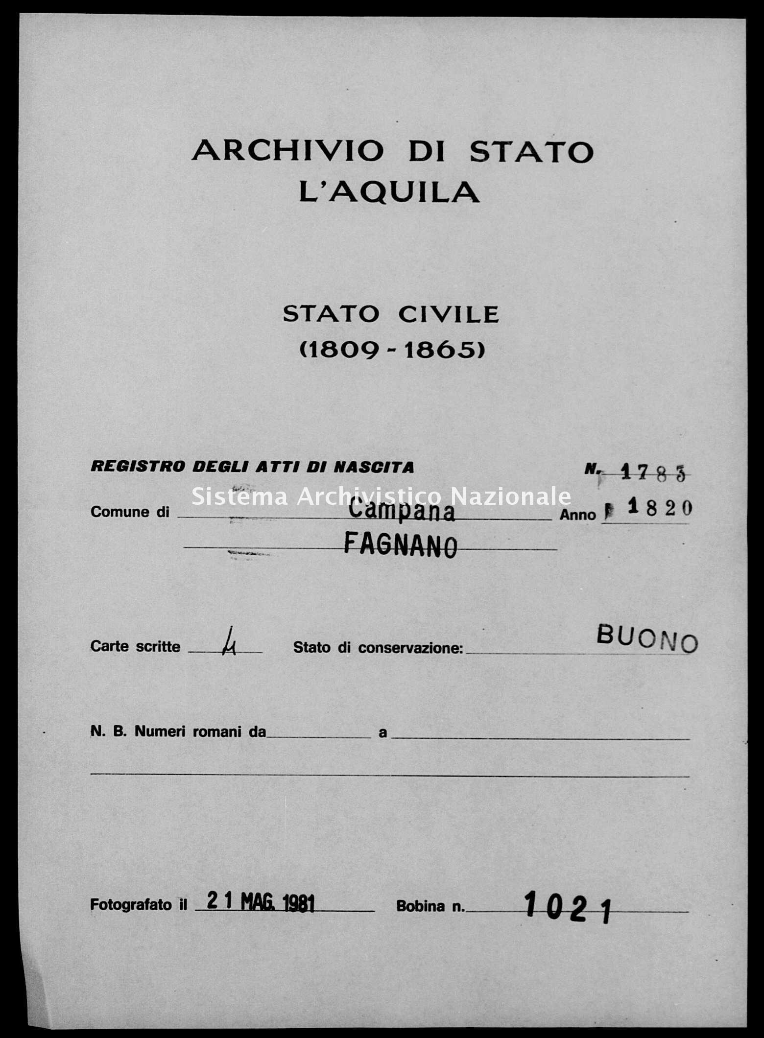 Archivio di stato di L'aquila - Stato civile della restaurazione - Campana - Nati - 1820 - 1783 -