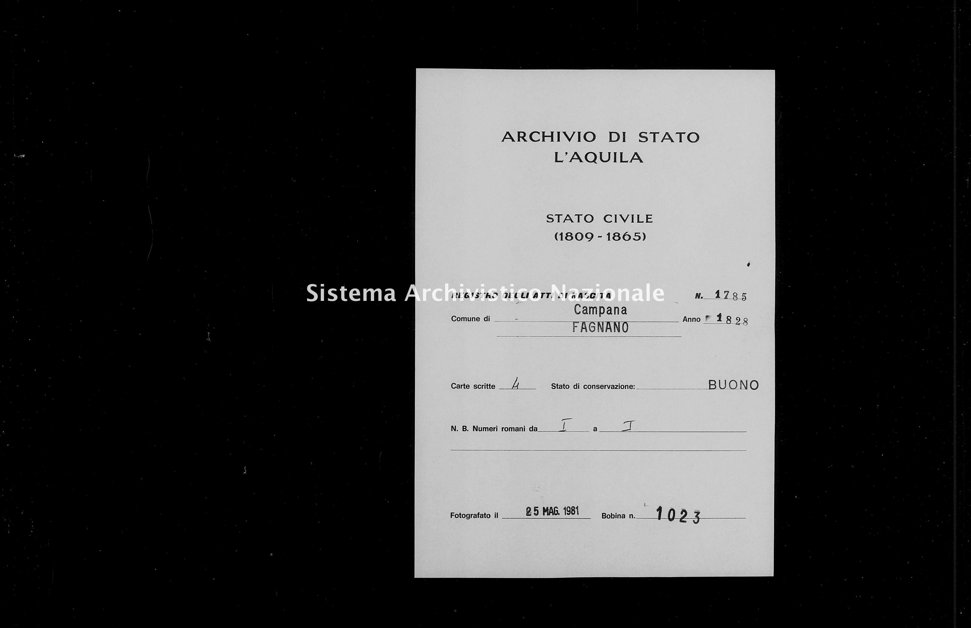 Archivio di stato di L'aquila - Stato civile della restaurazione - Campana - Nati - 1828 - 1785 -