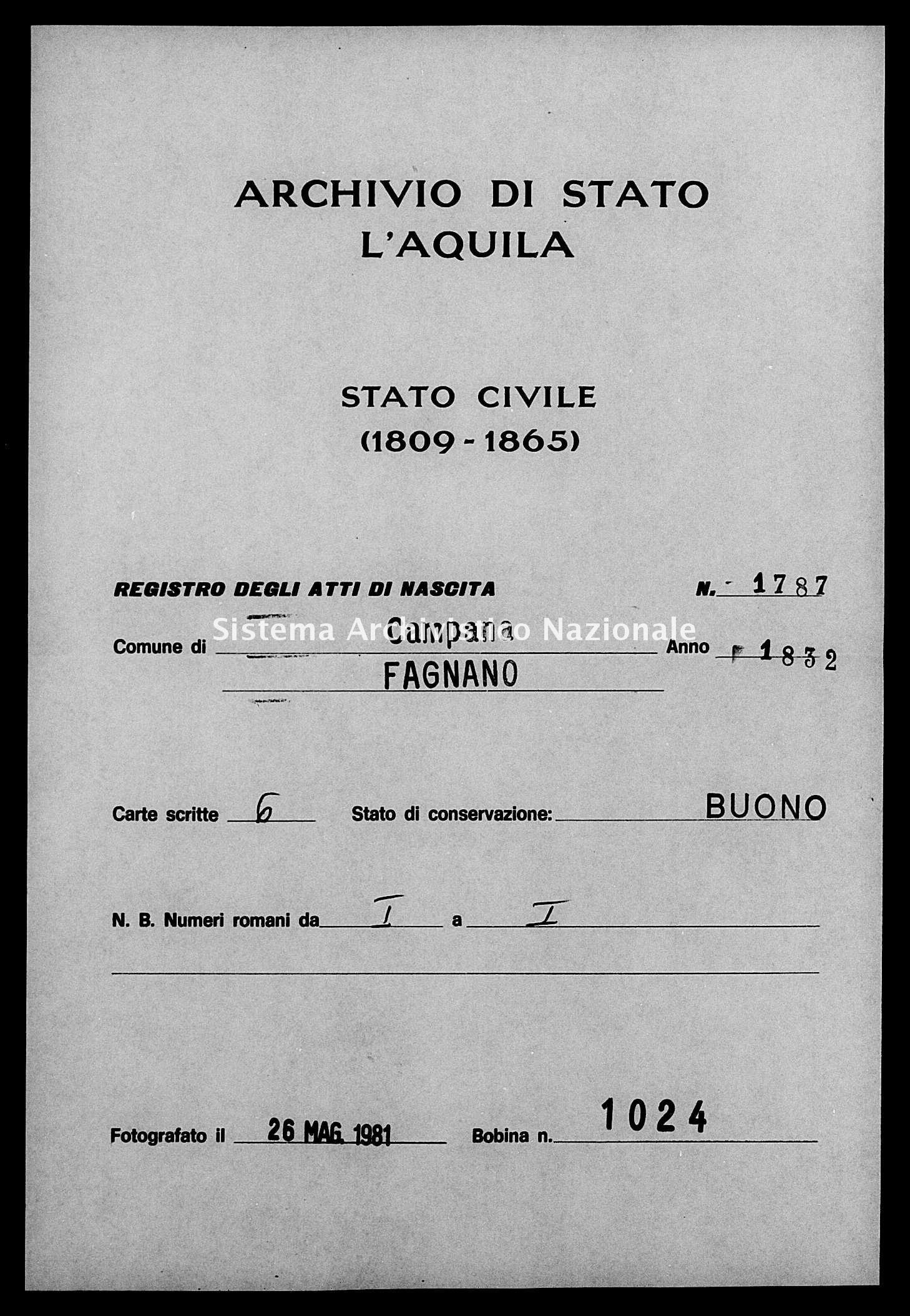 Archivio di stato di L'aquila - Stato civile della restaurazione - Campana - Nati - 1832 - 1787 -