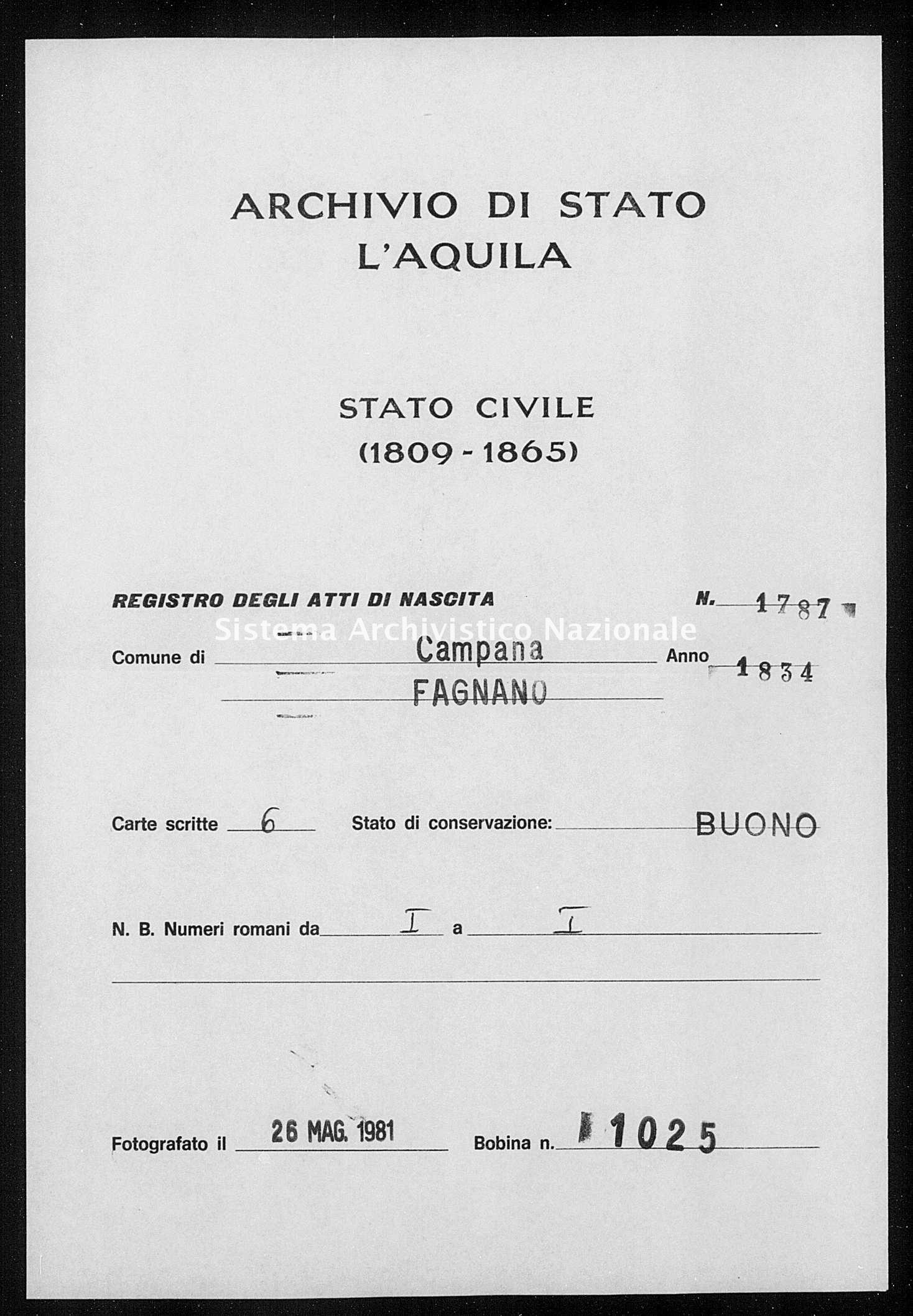Archivio di stato di L'aquila - Stato civile della restaurazione - Campana - Nati - 1834 - 1787 -