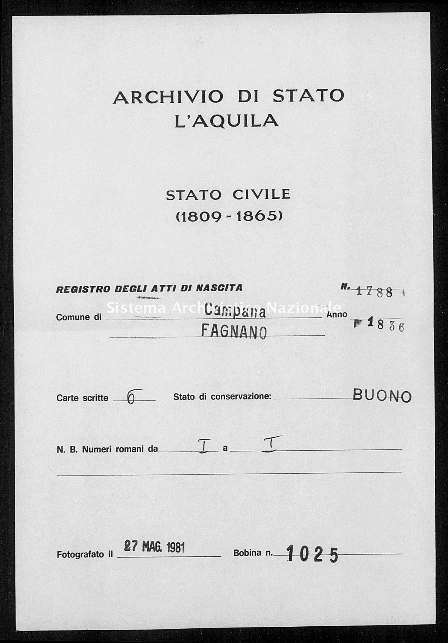 Archivio di stato di L'aquila - Stato civile della restaurazione - Campana - Nati - 1836 - 1788 -