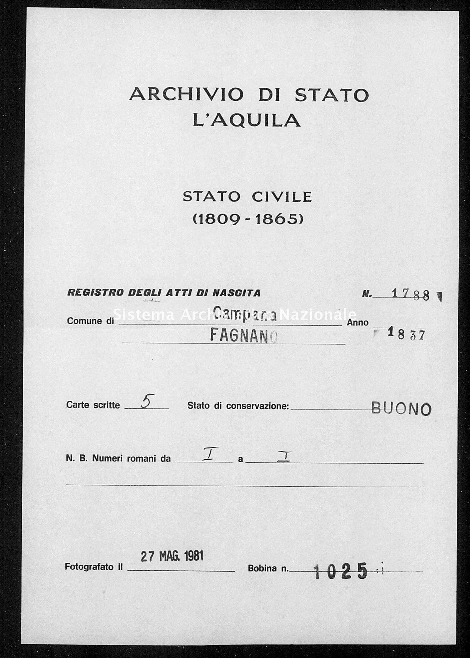 Archivio di stato di L'aquila - Stato civile della restaurazione - Campana - Nati - 1837 - 1788 -