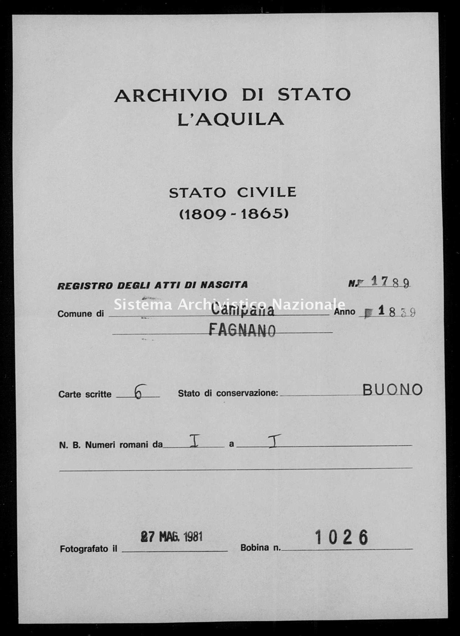 Archivio di stato di L'aquila - Stato civile della restaurazione - Campana - Nati - 1839 - 1789 -
