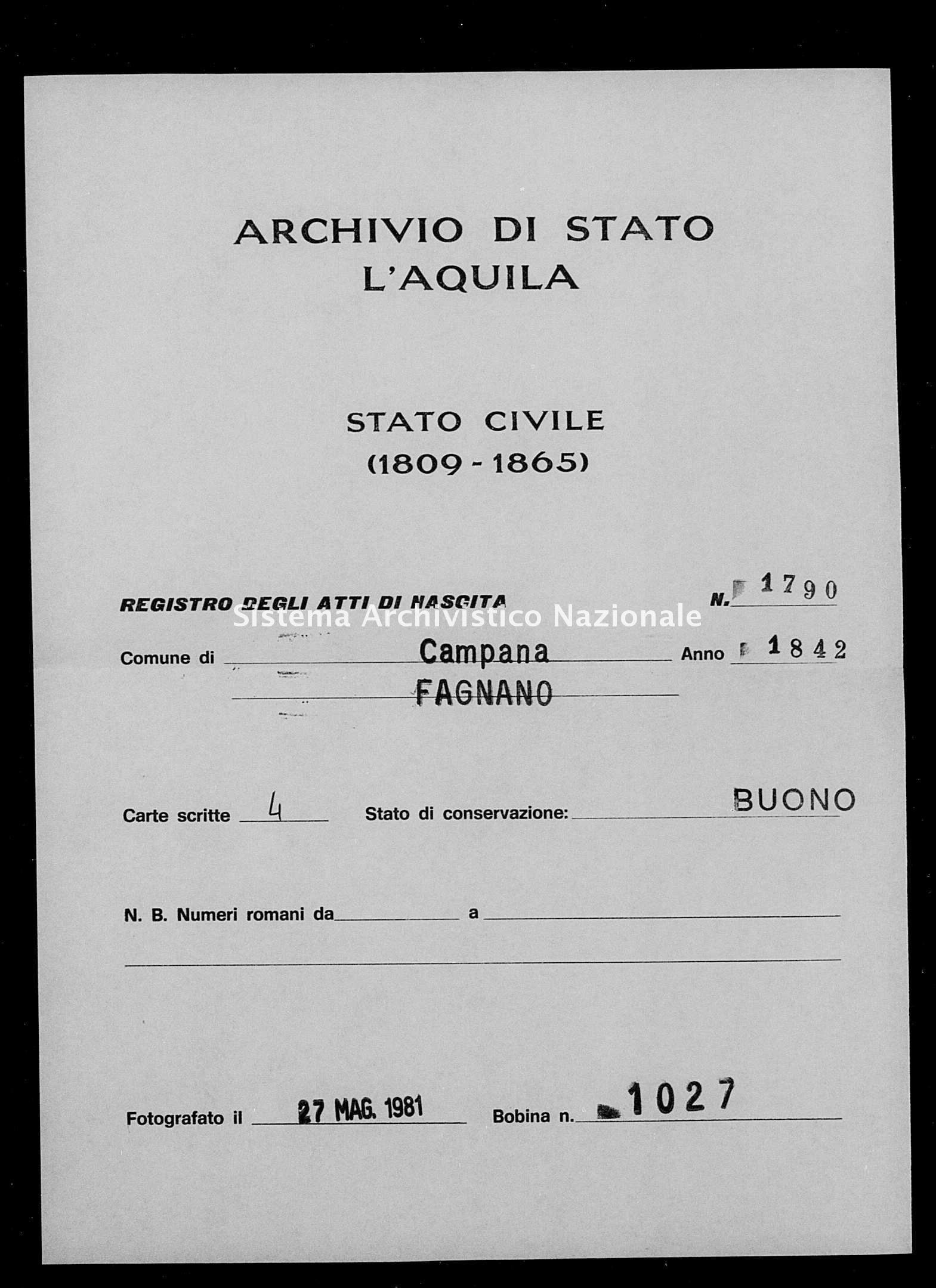 Archivio di stato di L'aquila - Stato civile della restaurazione - Campana - Nati - 1842 - 1790 -