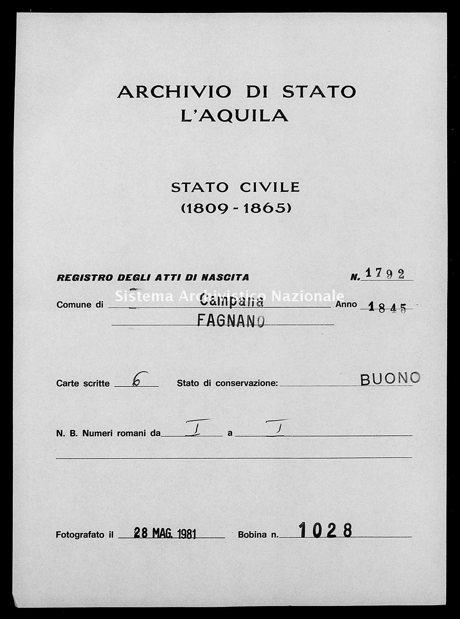 Archivio di stato di L'aquila - Stato civile della restaurazione - Campana - Nati - 1845 - 1792 -