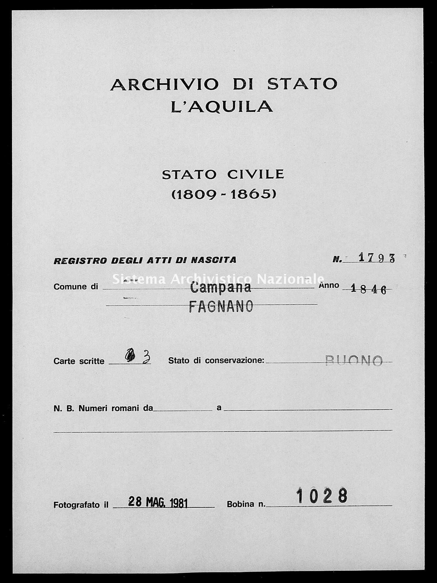 Archivio di stato di L'aquila - Stato civile della restaurazione - Campana - Nati - 1846 - 1793 -