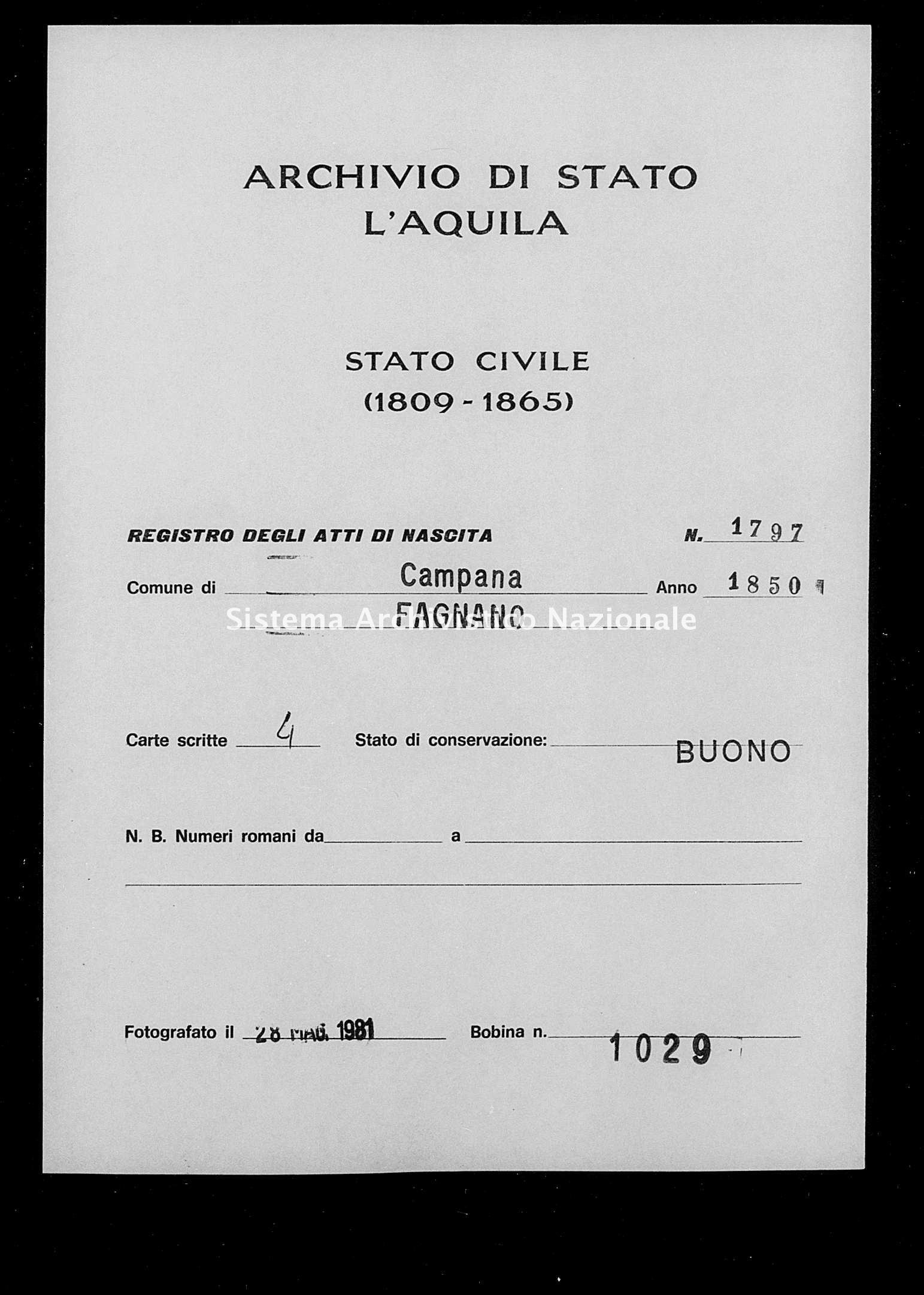 Archivio di stato di L'aquila - Stato civile della restaurazione - Campana - Nati - 1850 - 1797 -