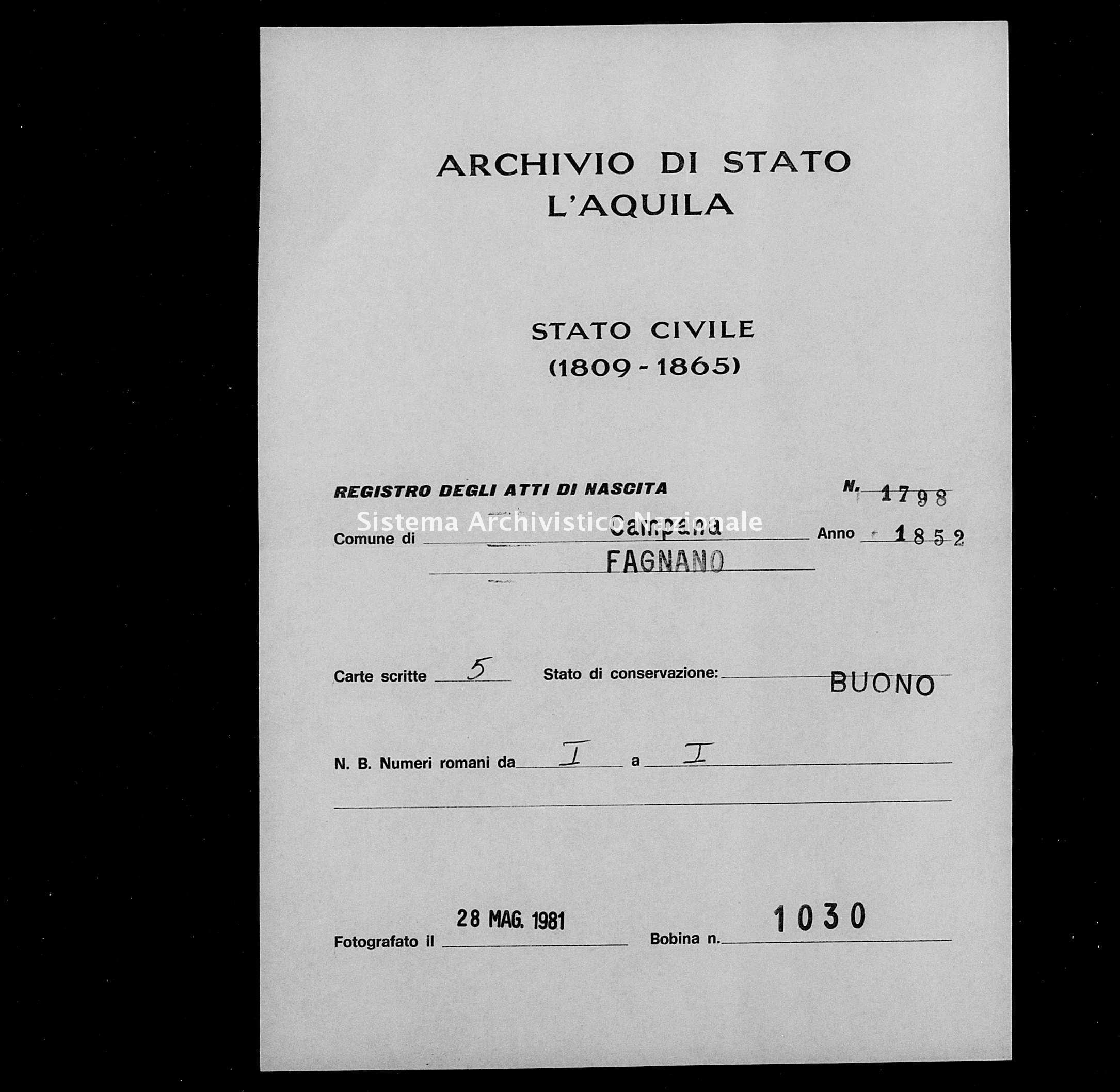 Archivio di stato di L'aquila - Stato civile della restaurazione - Campana - Nati - 1852 - 1798 -