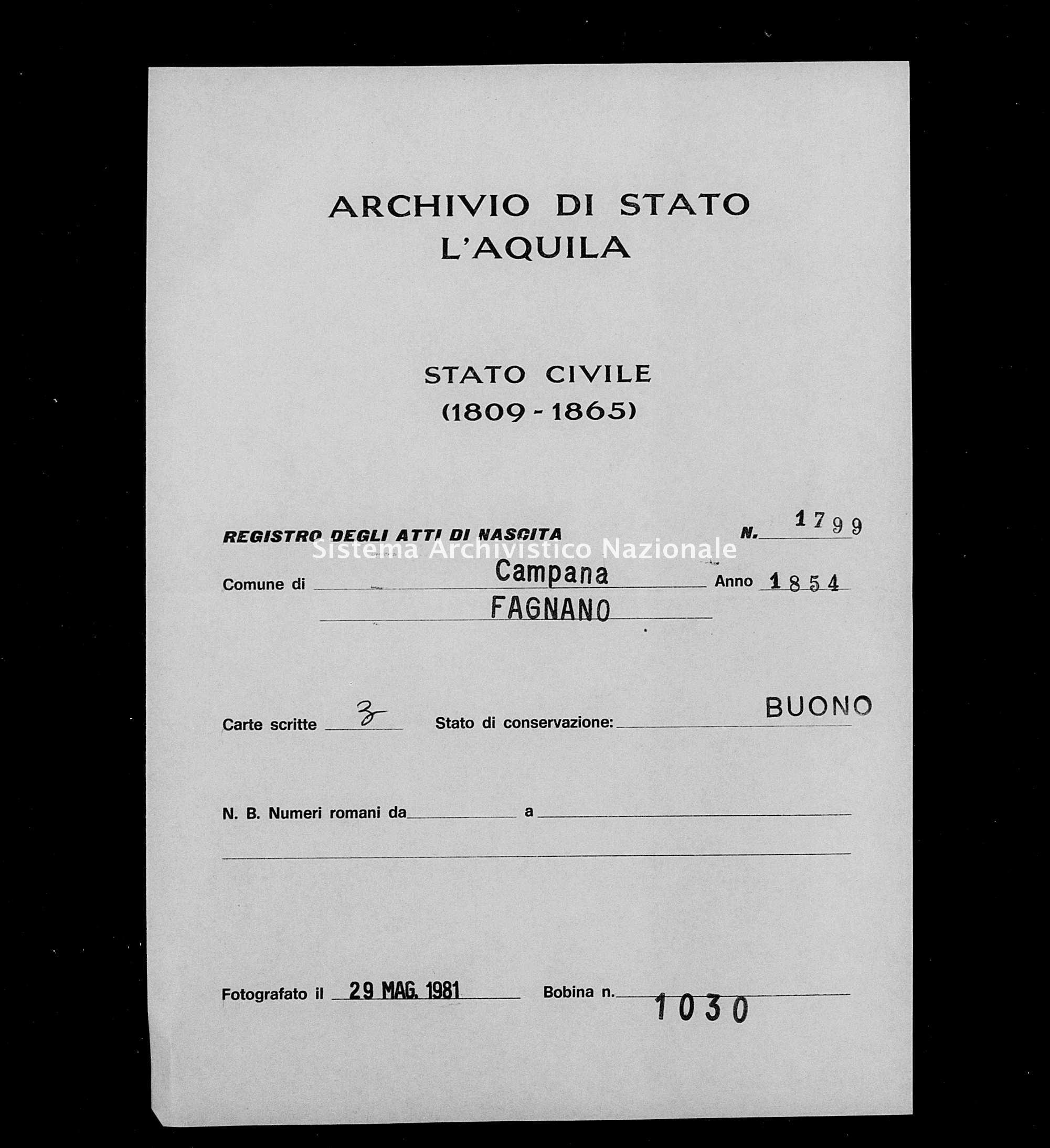 Archivio di stato di L'aquila - Stato civile della restaurazione - Campana - Nati - 1854 - 1799 -