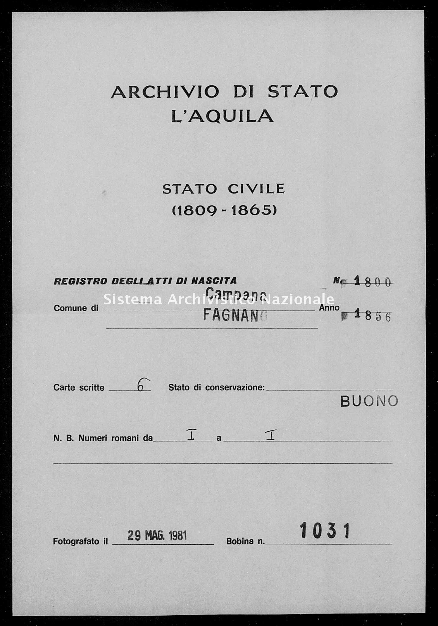 Archivio di stato di L'aquila - Stato civile della restaurazione - Campana - Nati - 1856 - 1800 -