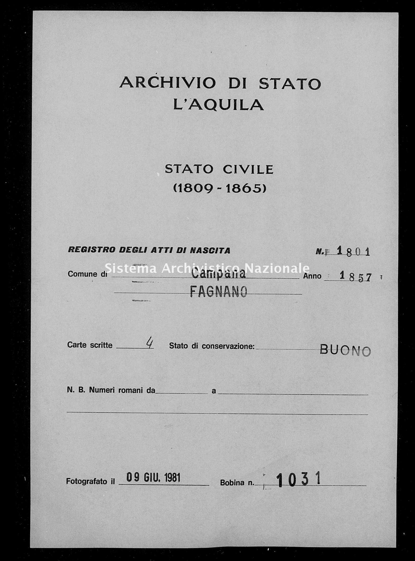 Archivio di stato di L'aquila - Stato civile della restaurazione - Campana - Nati - 1857 - 1801 -
