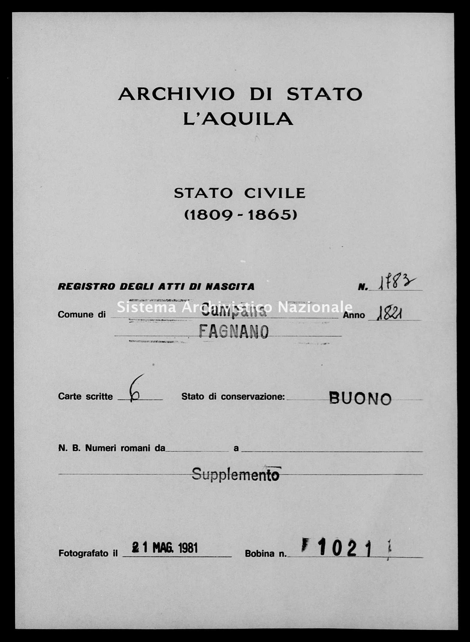Archivio di stato di L'aquila - Stato civile della restaurazione - Campana - Nati, battesimi - 1821 - 1783 -