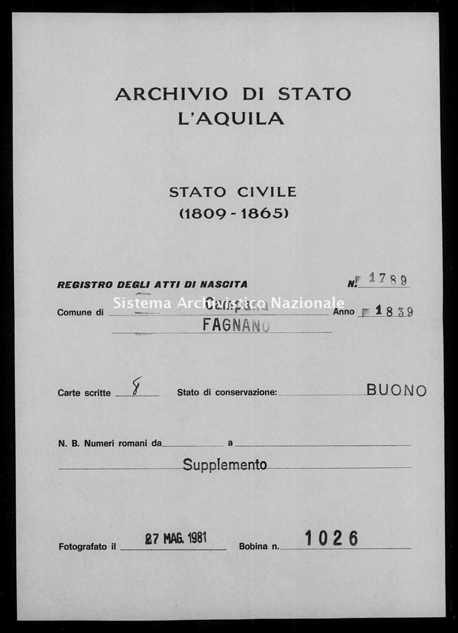 Archivio di stato di L'aquila - Stato civile della restaurazione - Campana - Nati, battesimi - 1839 - 1789 -