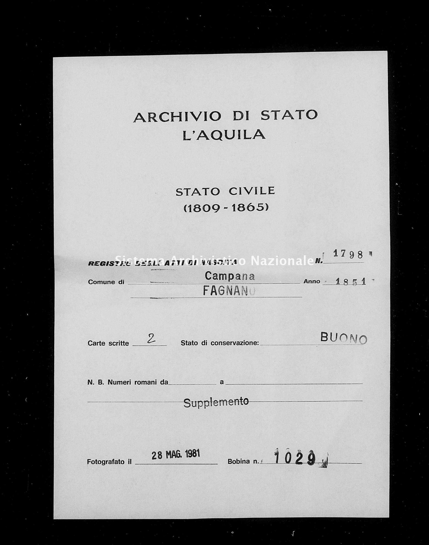 Archivio di stato di L'aquila - Stato civile della restaurazione - Campana - Nati, battesimi - 1851 - 1798 -