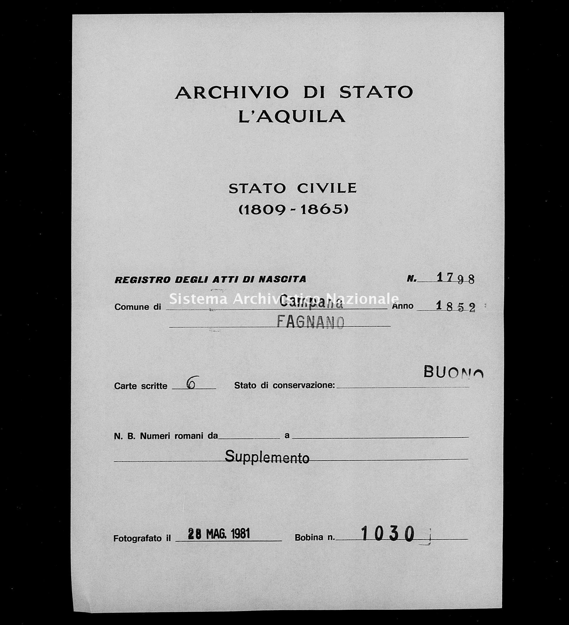 Archivio di stato di L'aquila - Stato civile della restaurazione - Campana - Nati, battesimi - 1852 - 1798 -