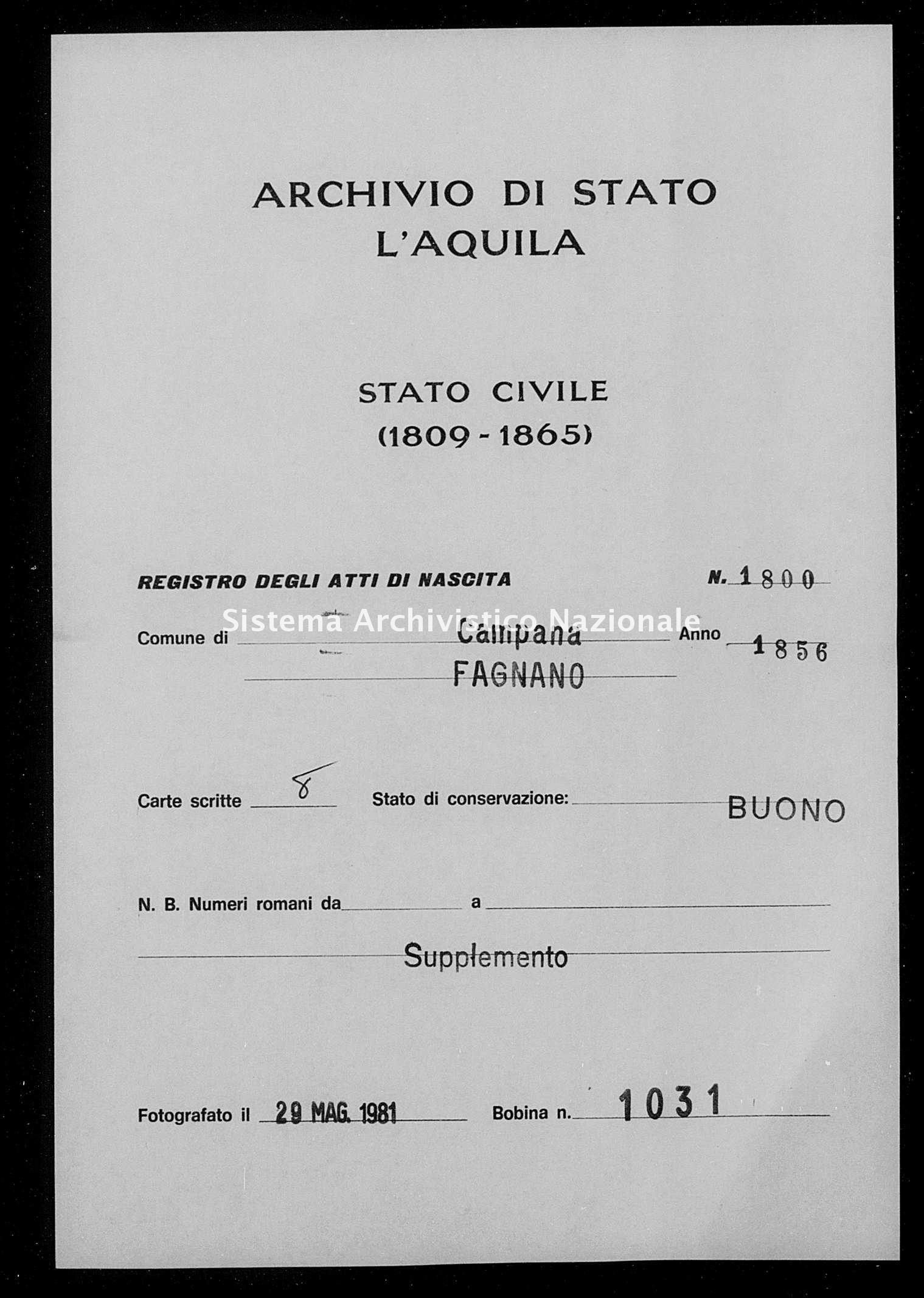 Archivio di stato di L'aquila - Stato civile della restaurazione - Campana - Nati, battesimi - 1856 - 1800 -