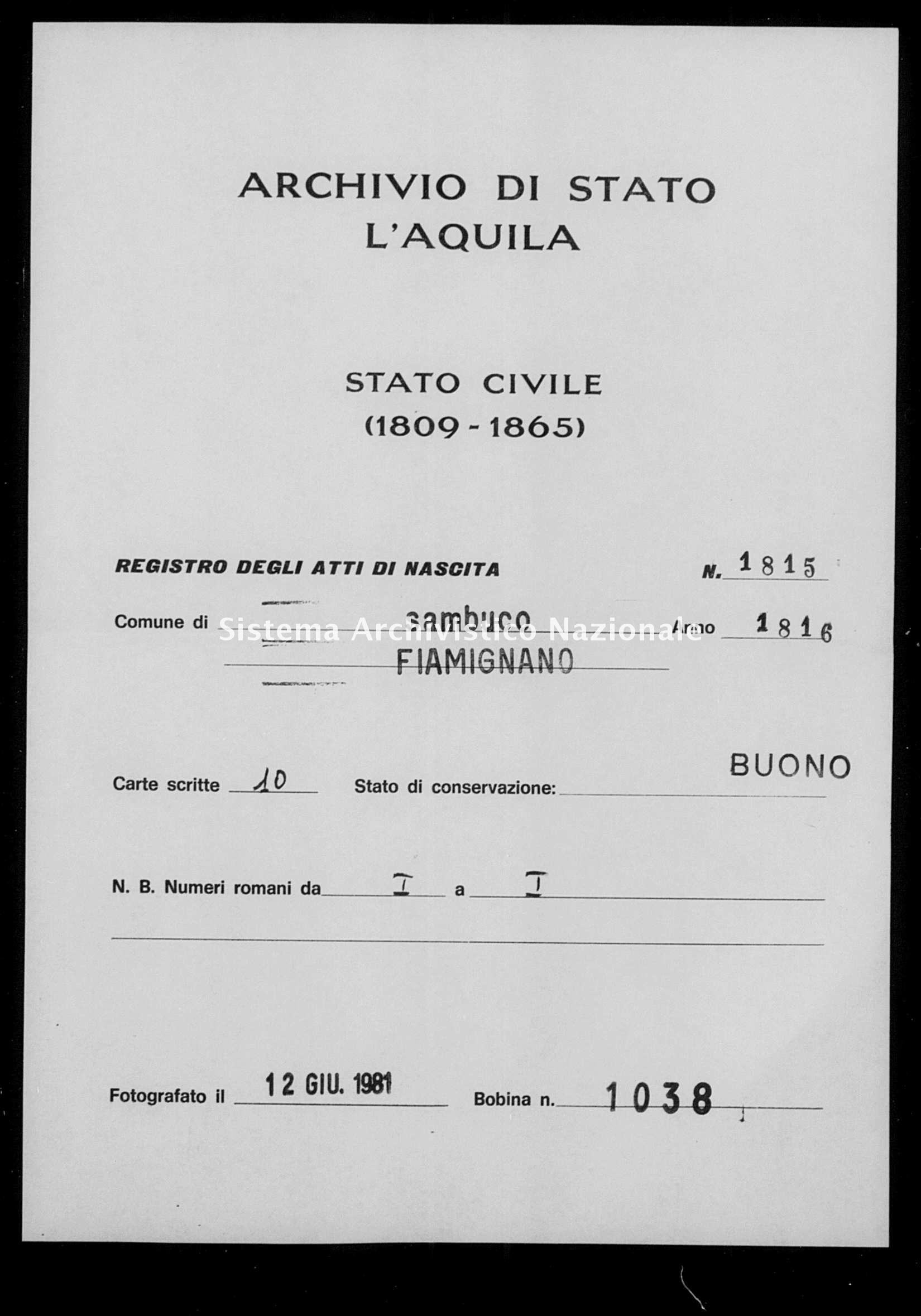 Archivio di stato di L'aquila - Stato civile della restaurazione - Sambuco - Nati - 1816 - 1815 -