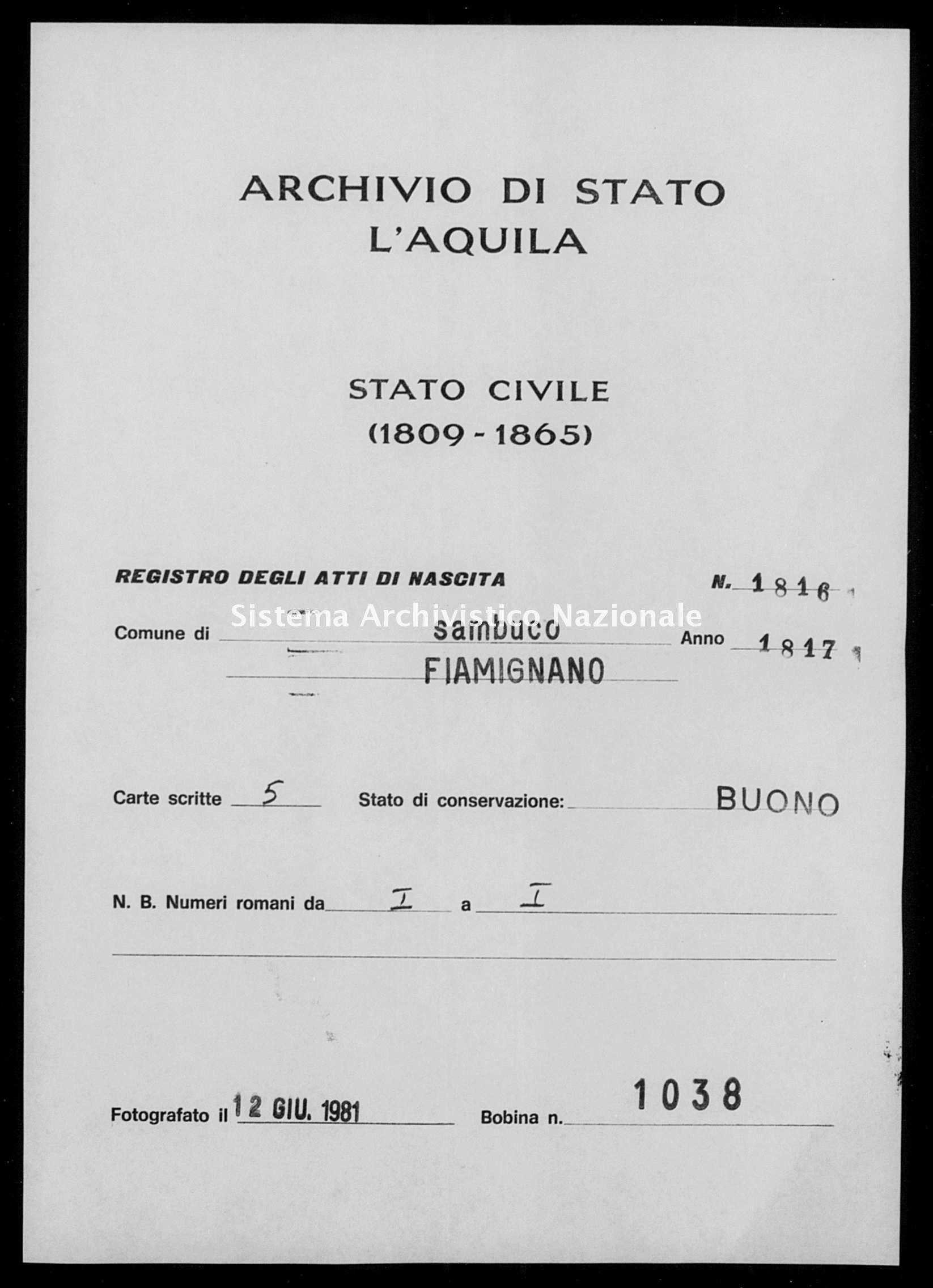 Archivio di stato di L'aquila - Stato civile della restaurazione - Sambuco - Nati - 1817 - 1816 -