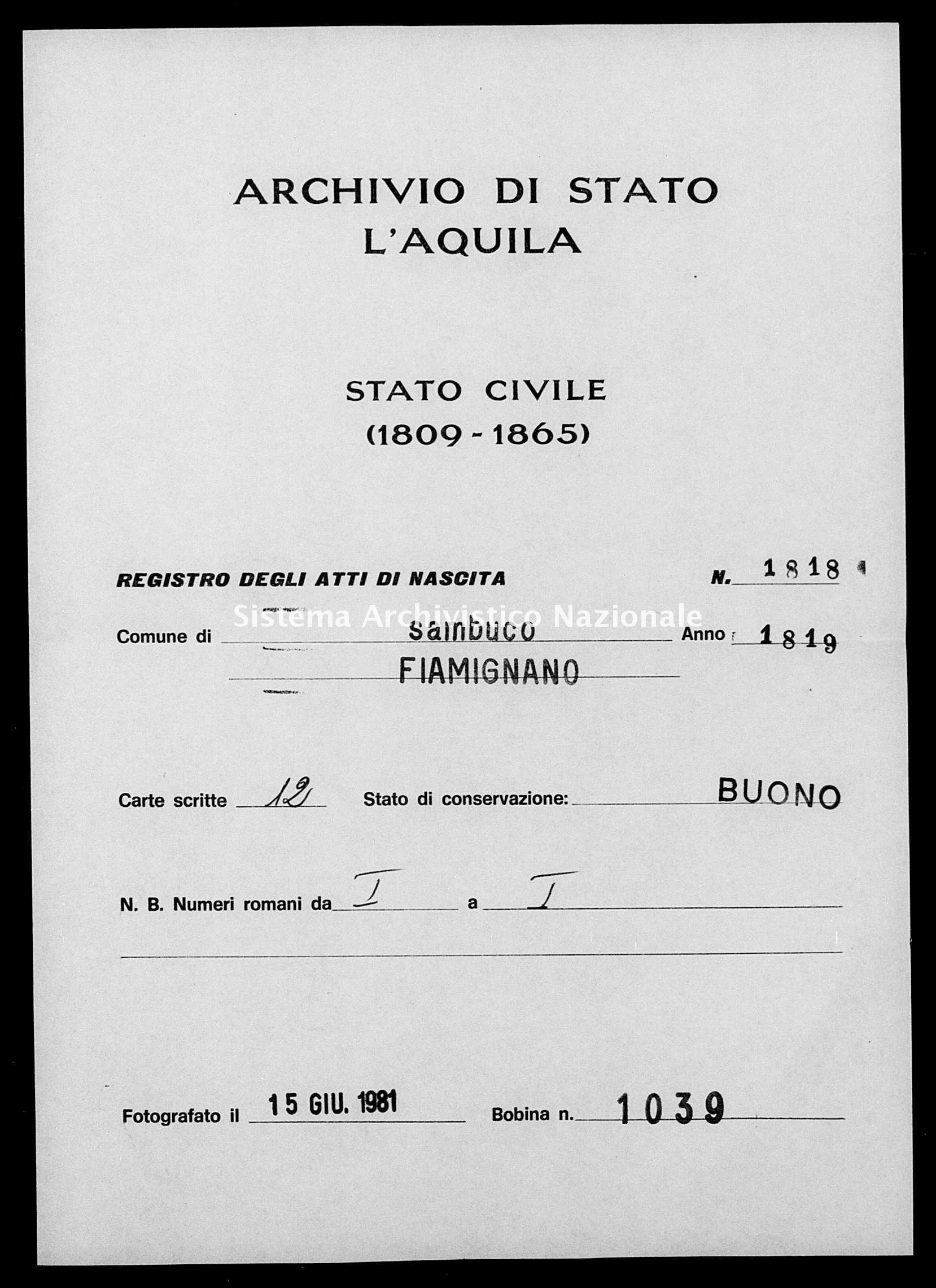 Archivio di stato di L'aquila - Stato civile della restaurazione - Sambuco - Nati - 1819 - 1818 -