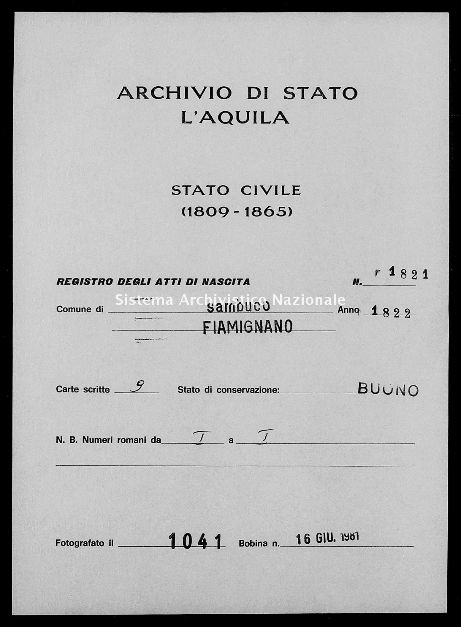 Archivio di stato di L'aquila - Stato civile della restaurazione - Sambuco - Nati - 1822 - 1821 -
