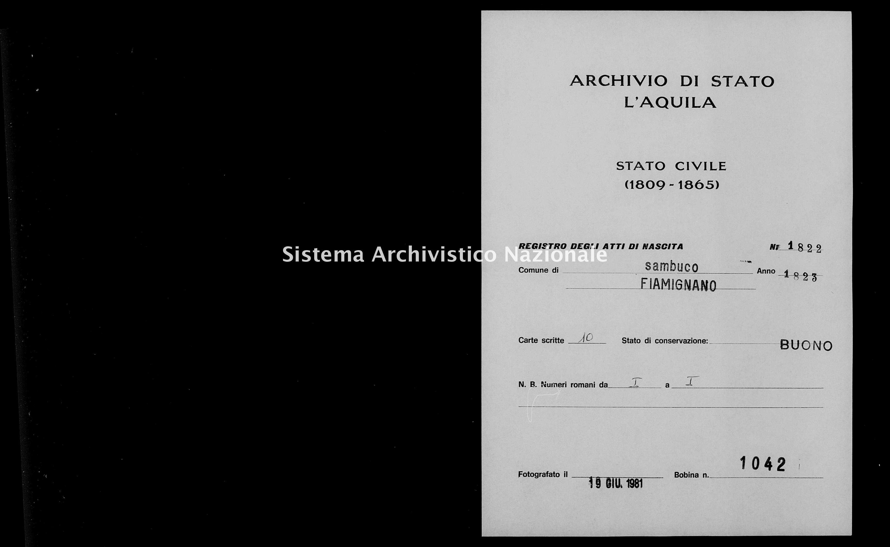 Archivio di stato di L'aquila - Stato civile della restaurazione - Sambuco - Nati - 1823 - 1822 -