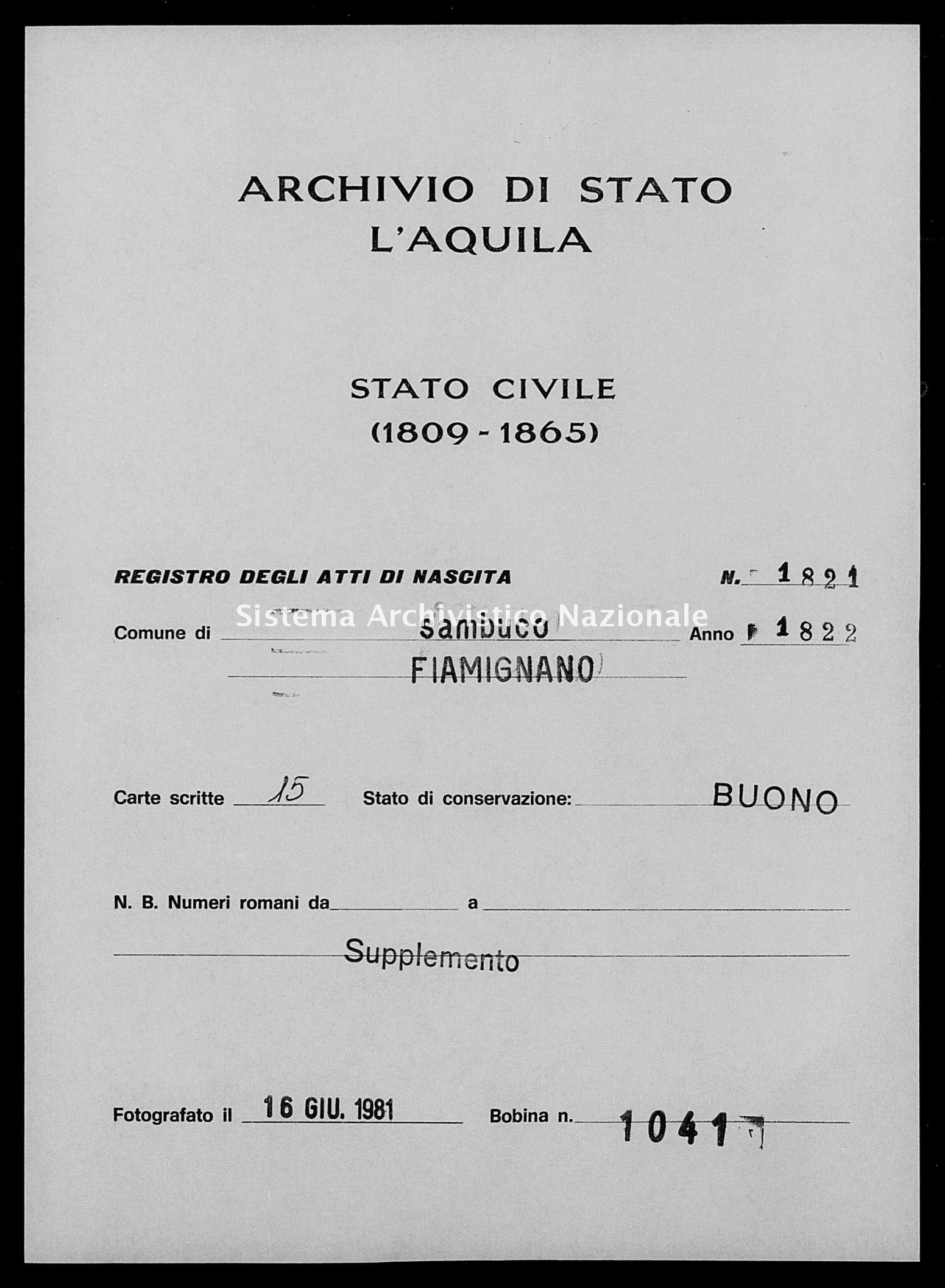 Archivio di stato di L'aquila - Stato civile della restaurazione - Sambuco - Nati, battesimi - 1822 - 1821 -