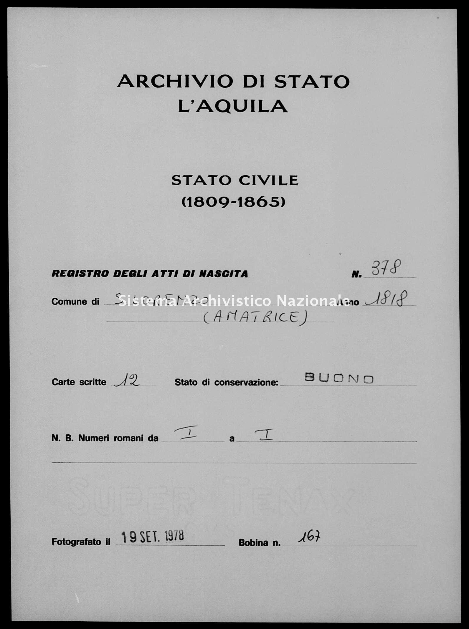 Archivio di stato di L'aquila - Stato civile della restaurazione - San Lorenzo - Nati - 1818 - 378 -