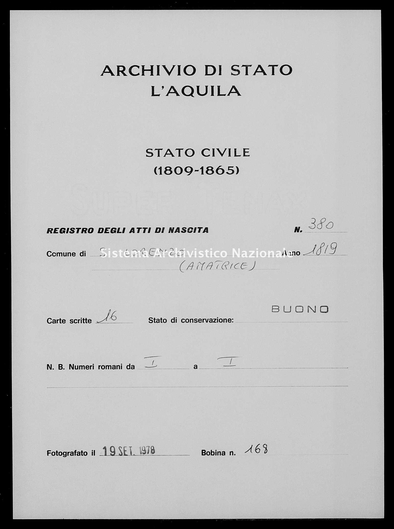 Archivio di stato di L'aquila - Stato civile della restaurazione - San Lorenzo - Nati - 1819 - 380 -
