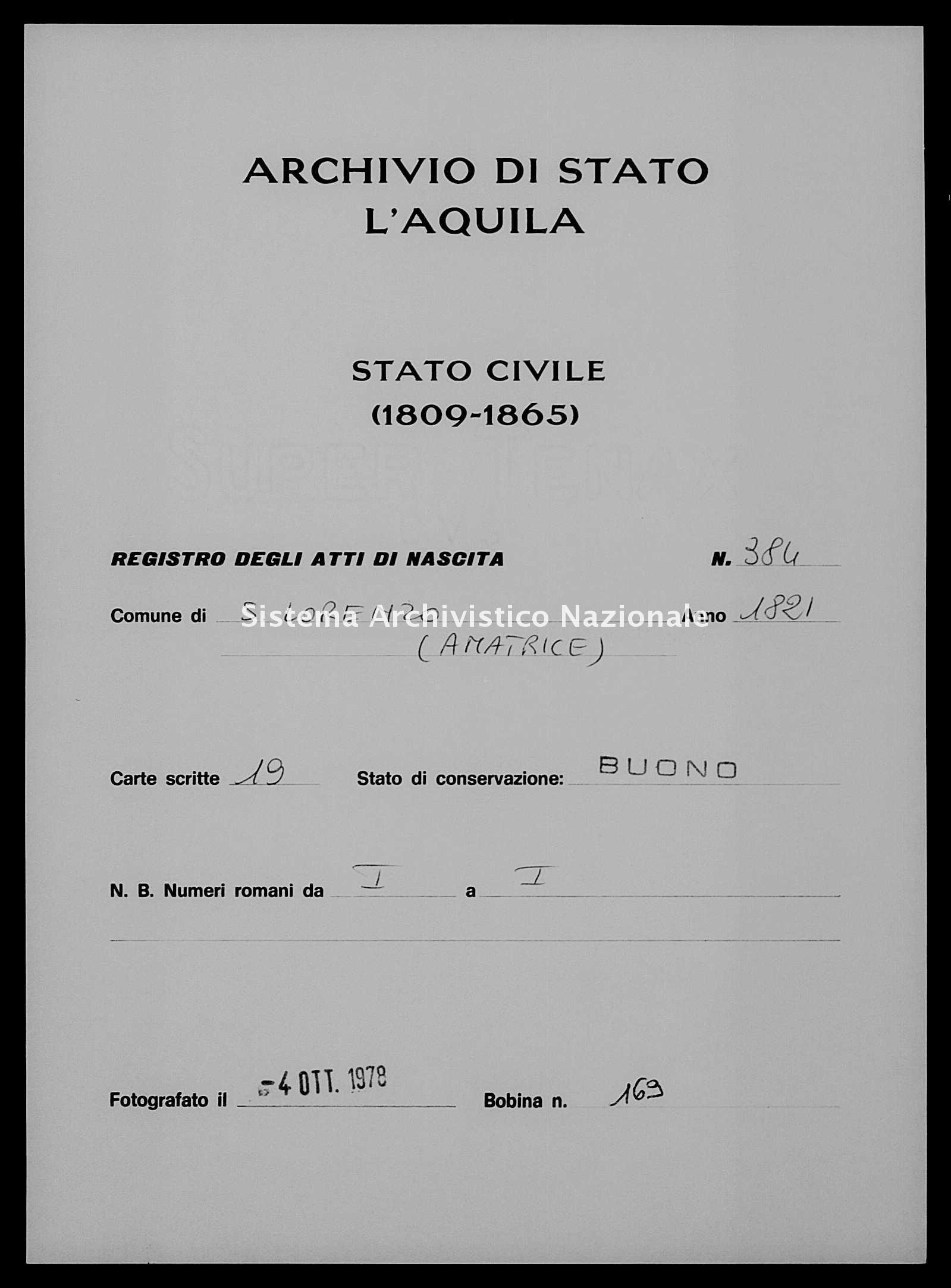 Archivio di stato di L'aquila - Stato civile della restaurazione - San Lorenzo - Nati - 1821 - 384 -