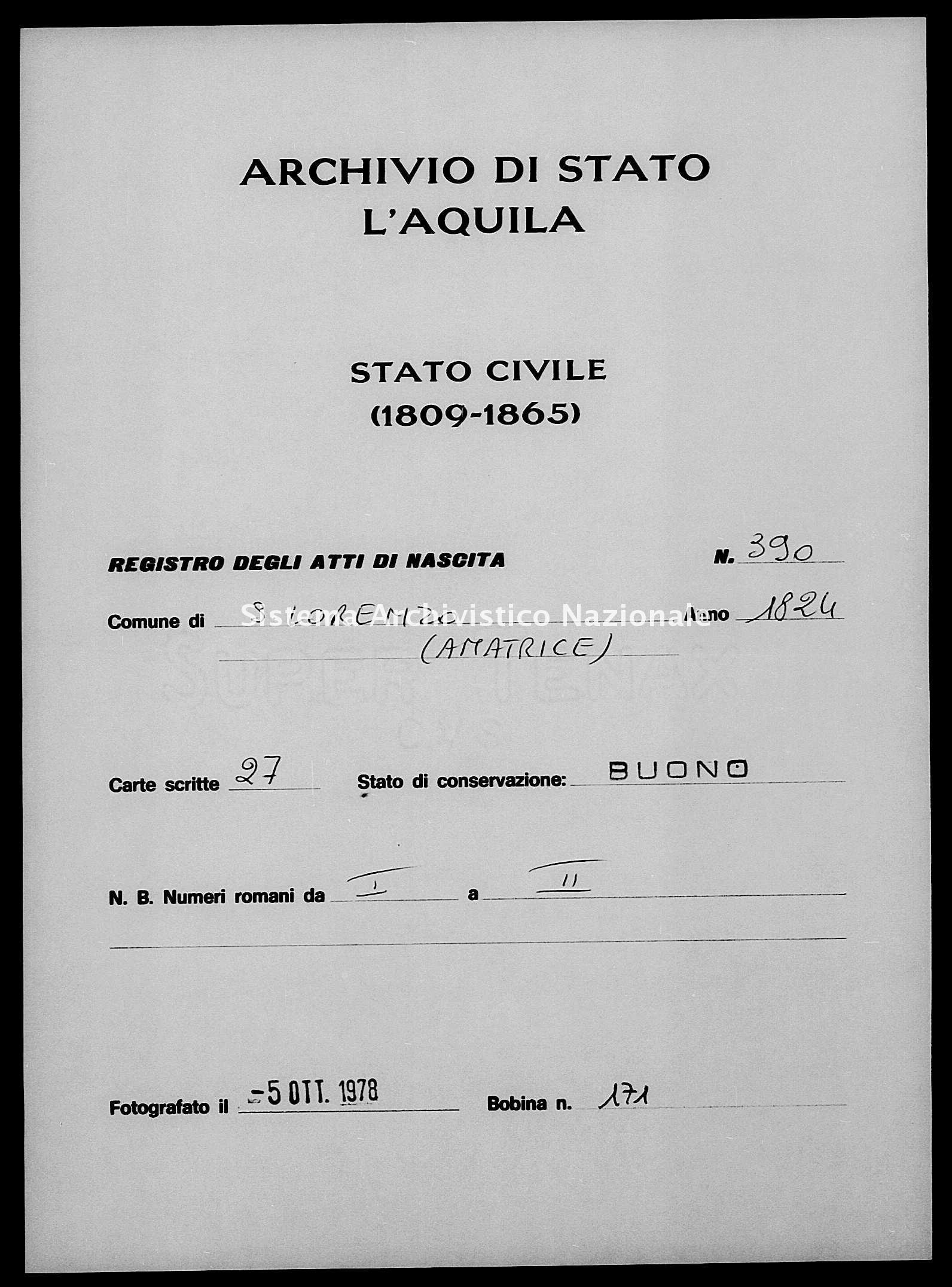 Archivio di stato di L'aquila - Stato civile della restaurazione - San Lorenzo - Nati - 1824 - 390 -