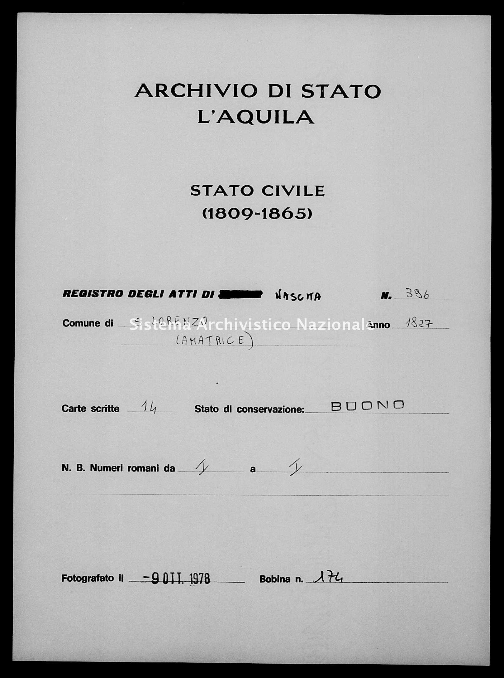 Archivio di stato di L'aquila - Stato civile della restaurazione - San Lorenzo - Nati - 1827 - 396 -