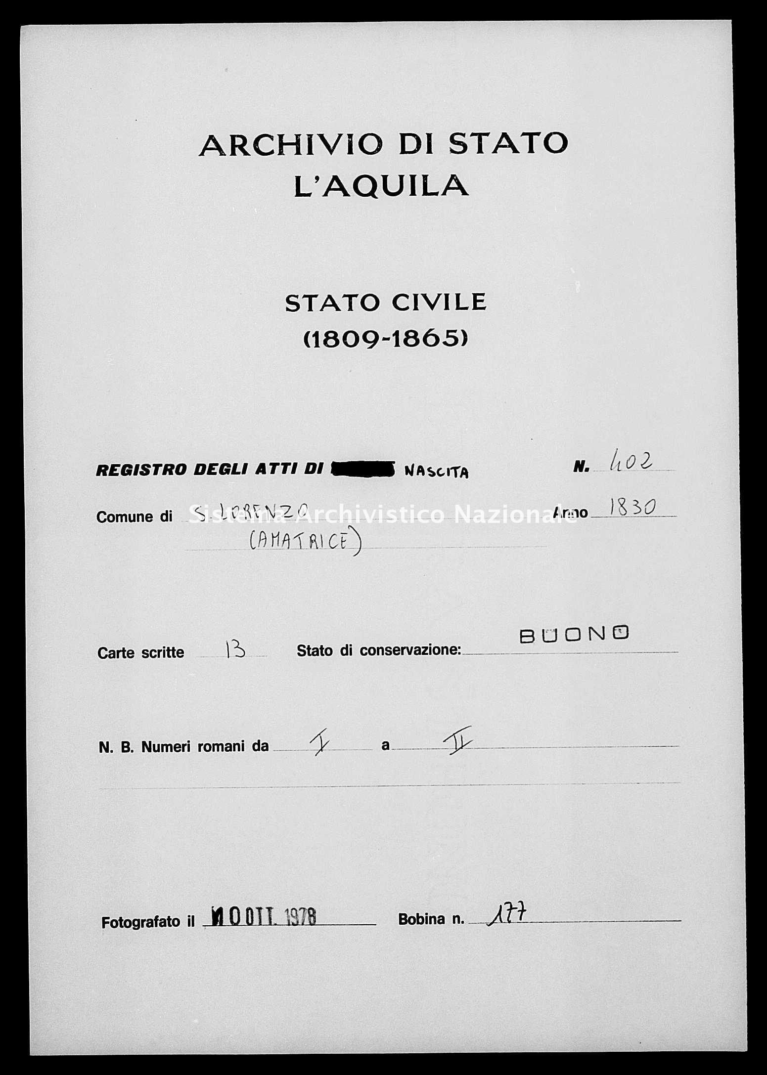 Archivio di stato di L'aquila - Stato civile della restaurazione - San Lorenzo - Nati - 1830 - 402 -