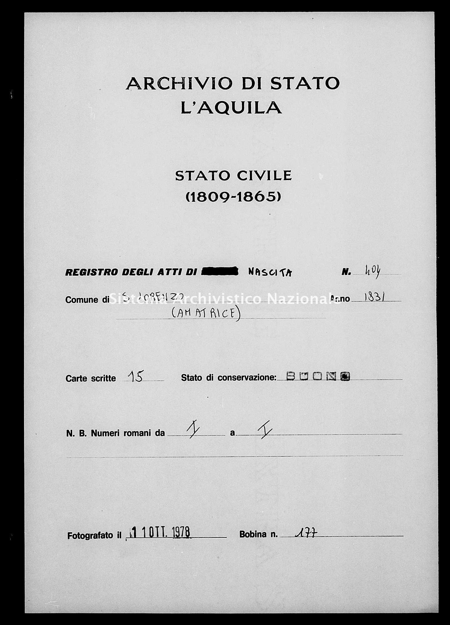 Archivio di stato di L'aquila - Stato civile della restaurazione - San Lorenzo - Nati - 1831 - 404 -