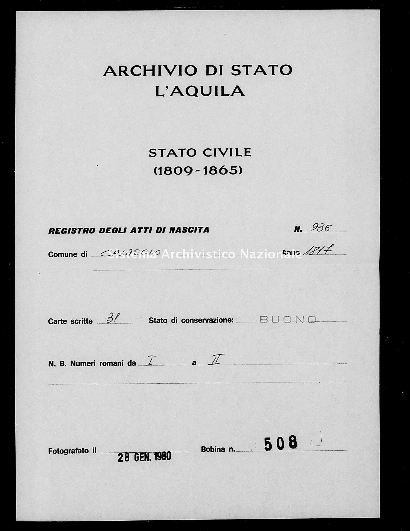 Archivio di stato di L'aquila - Stato civile della restaurazione - Calascio - Nati - 1817 - 936 -