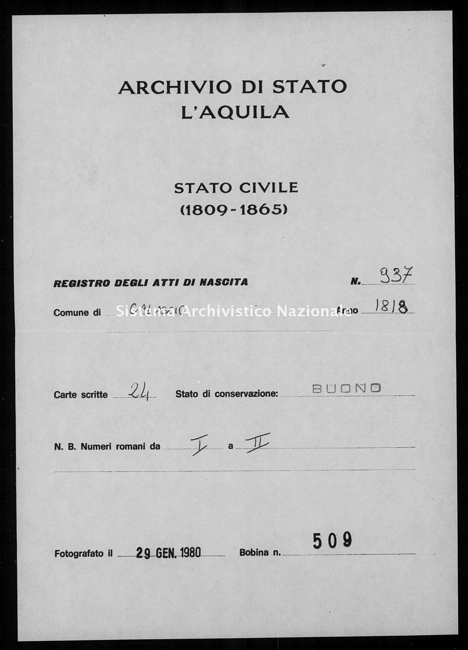 Archivio di stato di L'aquila - Stato civile della restaurazione - Calascio - Nati - 1818 - 937 -